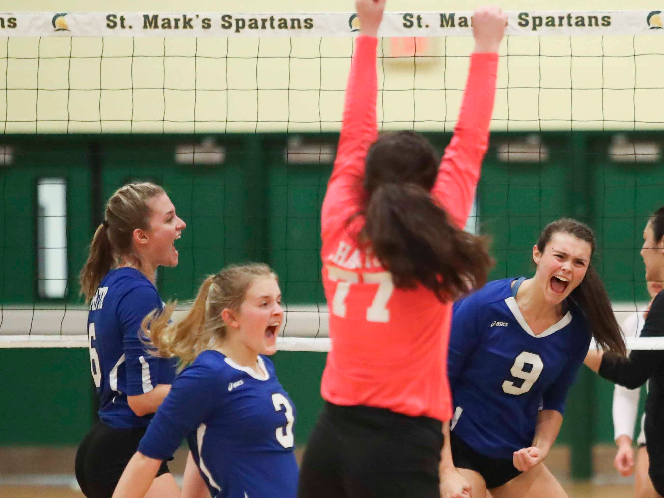 Charter School of Wilmington's (from left) Madeline Matheny, Addy Miller, Mallory McCormick and Izzy Lugar react after a successful point as the Force advances to Monday's final in the DIAA state tournament Thursday at St. Mark's High School.