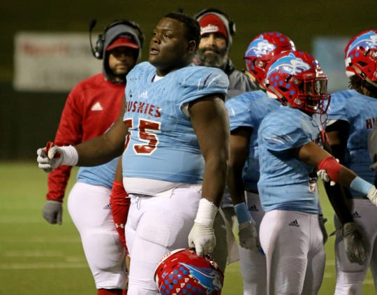 Hirschi's Lloyd Murray walks off the field during a timeout in the game against Mineral Wells Thursday, Nov. 8, 2018, at Memorial Stadium. The Huskies defeated the Rams 41-20.