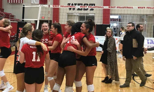 Christ Academy wins the TAPPS 1A State Volleyball championship Friday, Nov. 9, 2018, by defeating Bellville Faith in four sets.