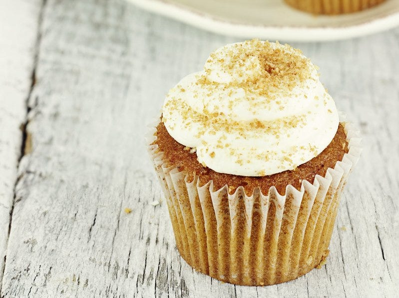 The warm flavors of pumpkin and eggnog mingle gorgeously in these simple but elegant little cupcakes.