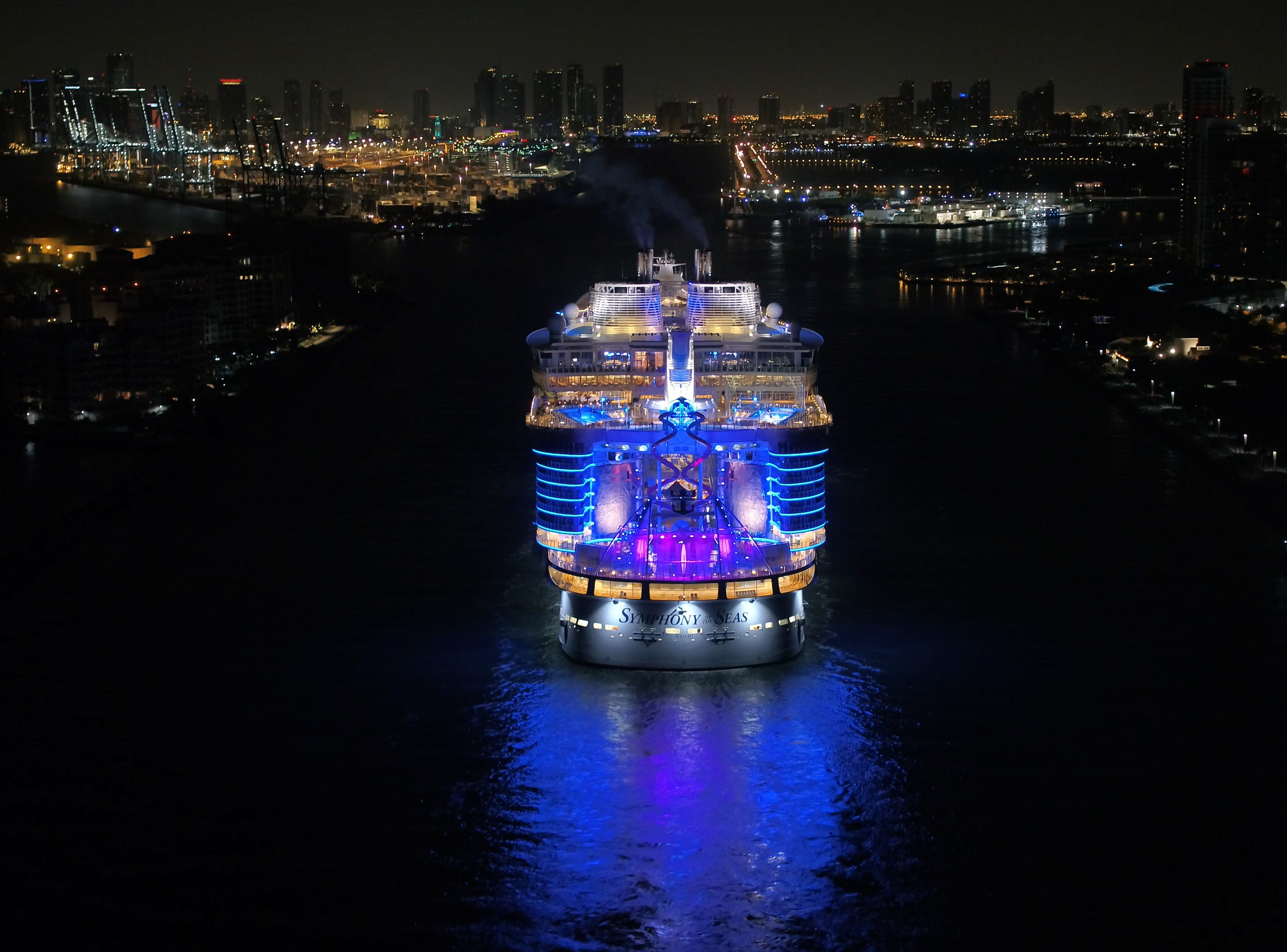 Shown here pulling into the Port of Miami for the first time on Nov. 9, 2018, Royal Caribbean's Symphony of the Seas measures 228,081 gross tons and can carry more than 6,000 passengers.
