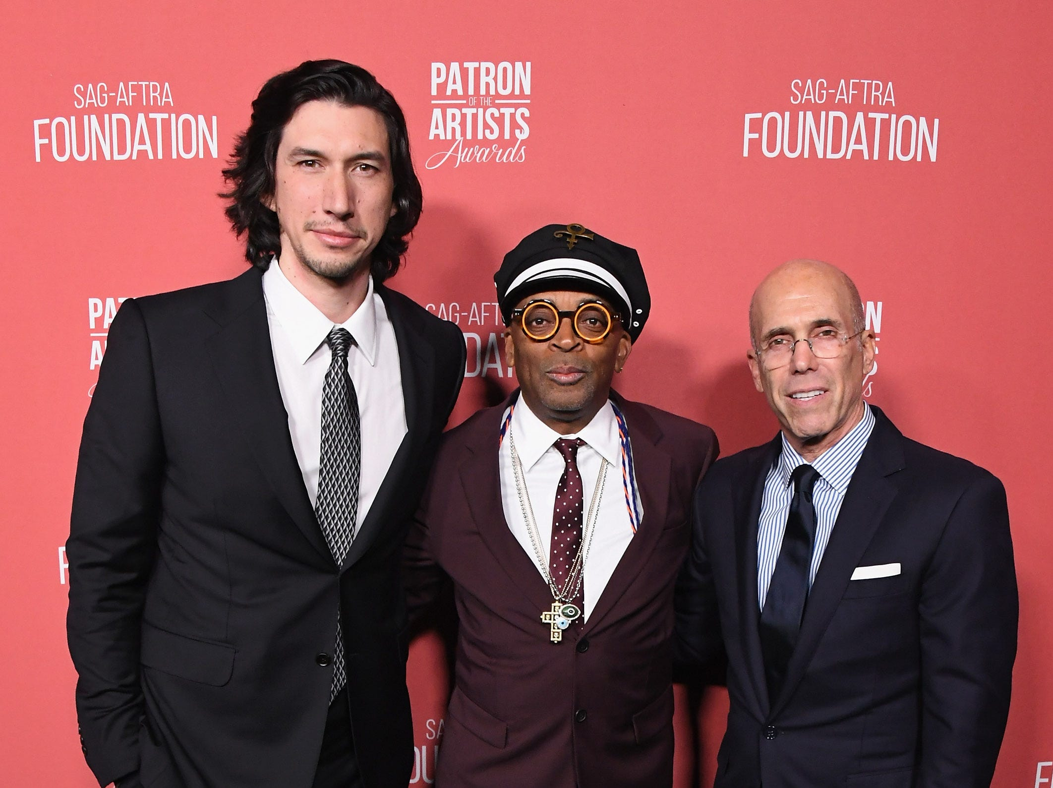 BEVERLY HILLS, CA - NOVEMBER 08:  Adam Driver, Spike Lee and Jeffrey Katzenberg attend SAG-AFTRA Foundation's 3rd Annual Patron Of The Artists Awards at Wallis Annenberg Center for the Performing Arts on November 8, 2018 in Beverly Hills, California.  (Photo by Jon Kopaloff/FilmMagic) ORG XMIT: 775233471 ORIG FILE ID: 1059469916