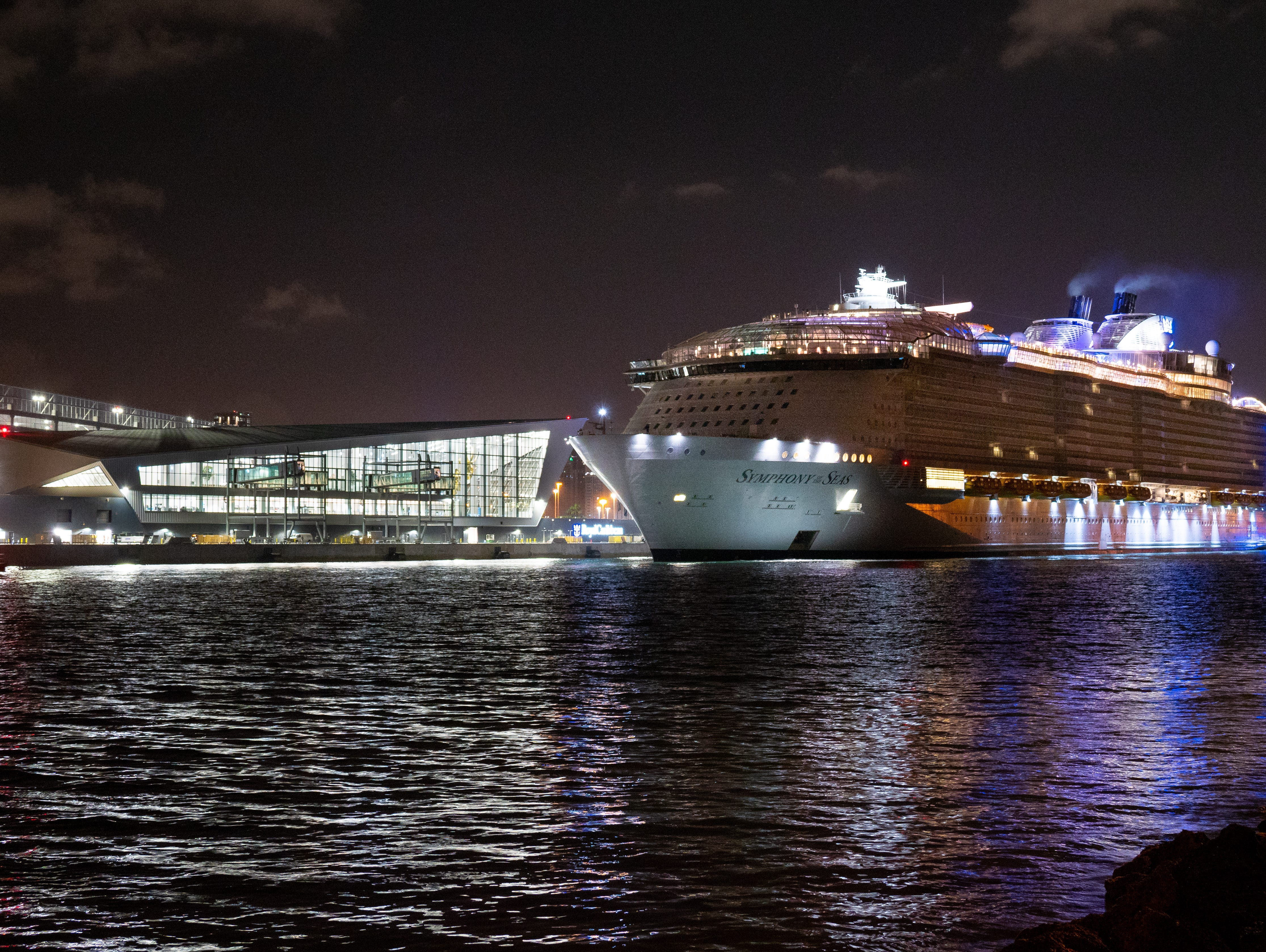 Royal Caribbean's Symphony of the Seas docks at the Port of Miami's new Terminal A for the first time.