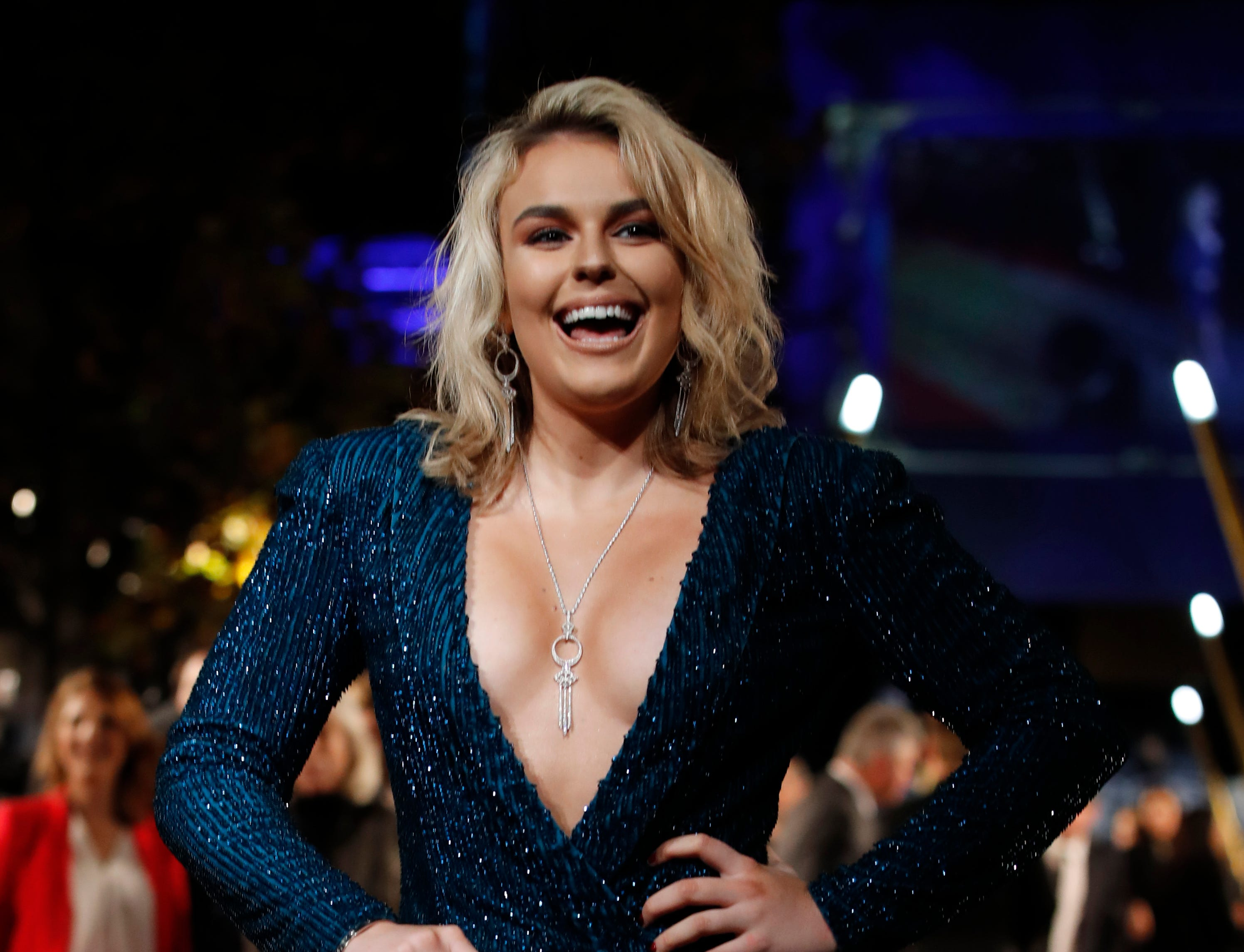 "Actress Tallia Storm poses at the world premiere of the film ""Fantastic Beasts: The Crimes of Grindelwald"" in Paris, Thursday, Nov. 8, 2018. (AP Photo/Christophe Ena) ORG XMIT: NYOTK"