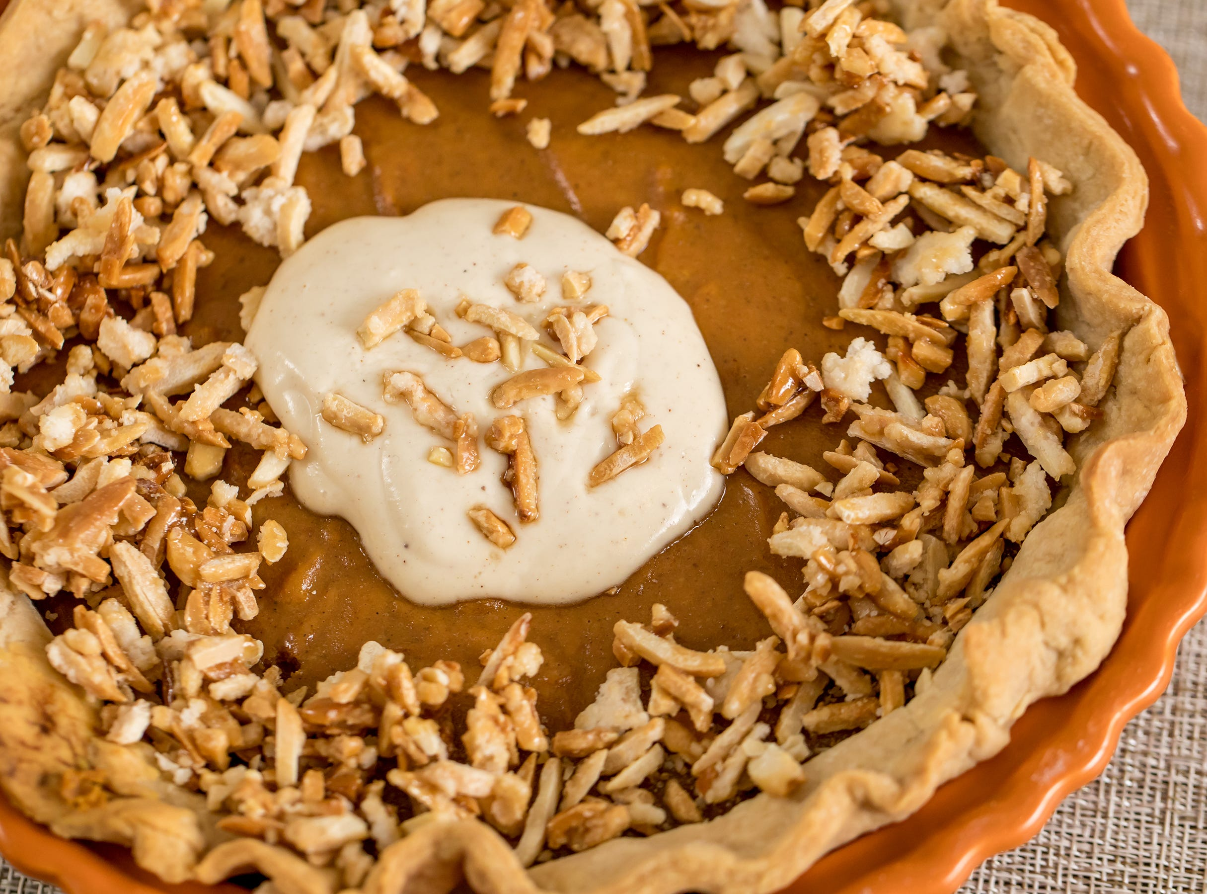 The filling in this spiced pumpkin pie recipe has a wonderful blend of spices (pumpkin spice plus a little extra nutmeg) and sugar (brown sugar and sweetened condensed milk) — enough to give it lots of wonderful flavor.