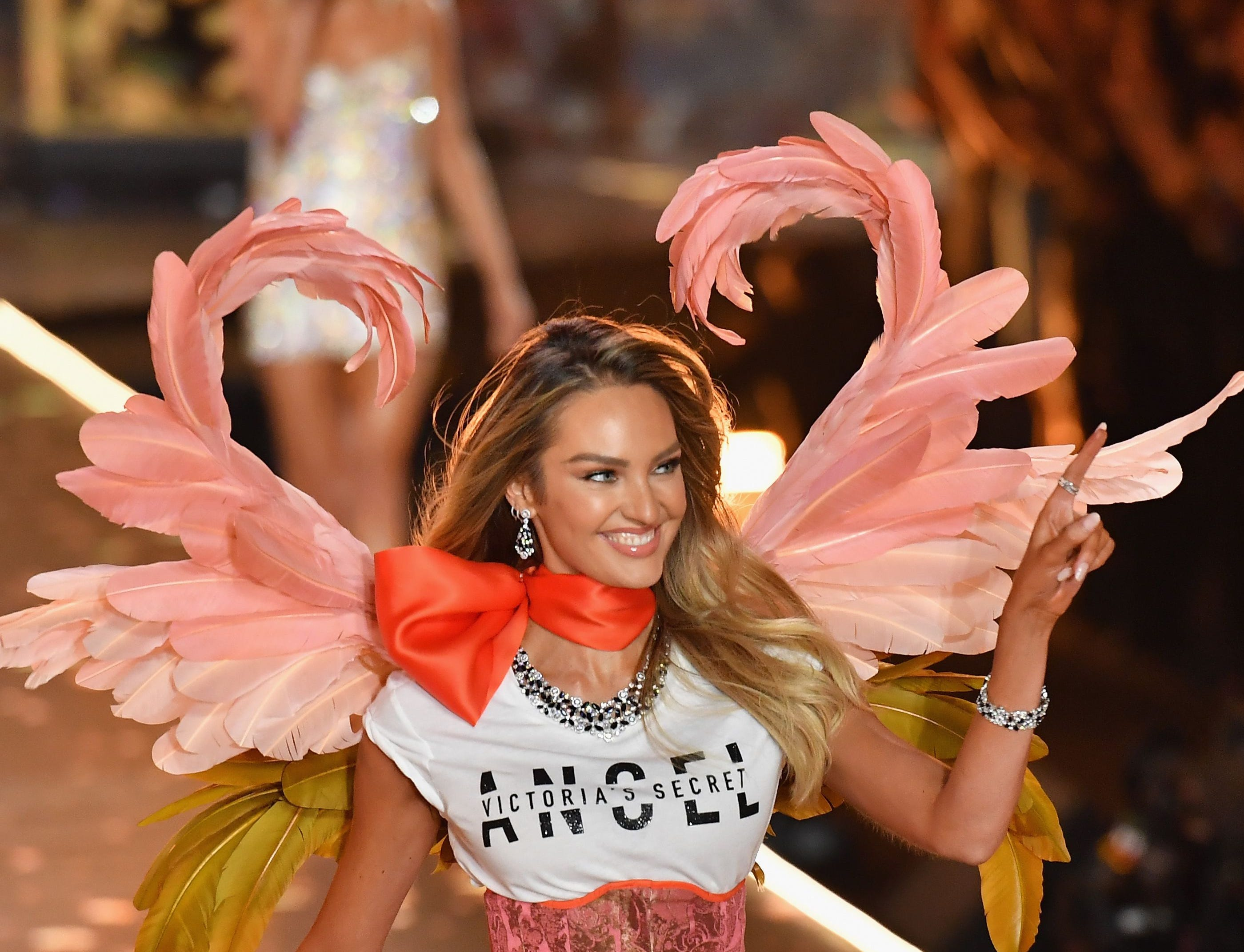 South African model Candice Swanepoel walks the runway at the 2018 Victoria's Secret Fashion Show on November 8, 2018 at Pier 94 in New York City. - Every year, the Victoria's Secret show brings its famous models together for what is consistently a glittery catwalk extravaganza. It's the most-watched fashion event of the year (800 million tune in annually) with around 12 million USD spent on putting the spectacle together according to Harper's Bazaar. (Photo by Angela Weiss / AFP)ANGELA WEISS/AFP/Getty Images ORIG FILE ID: AFP_1AP0ML