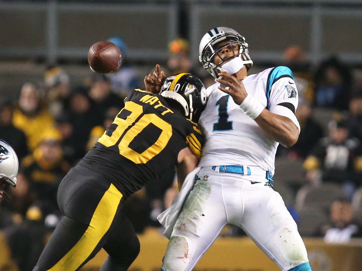 Pittsburgh Steelers outside linebacker T.J. Watt causes Carolina Panthers quarterback Cam Newton to fumble during the second quarter at Heinz Field.