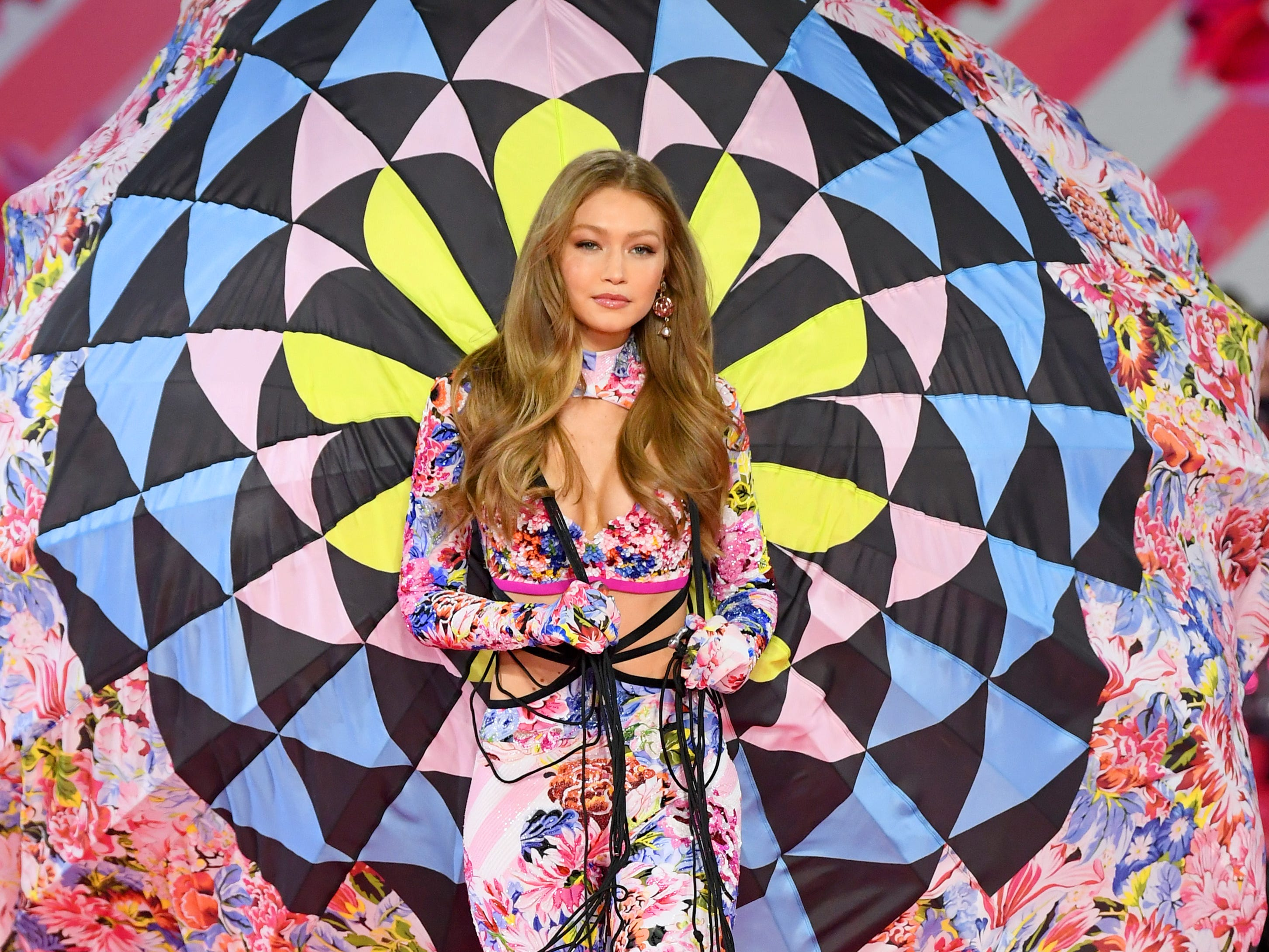 NEW YORK, NY - NOVEMBER 08:  Gigi Hadid walks the runway during the 2018 Victoria's Secret Fashion Show at Pier 94 on November 8, 2018 in New York City.  (Photo by Dimitrios Kambouris/Getty Images for Victoria's Secret) ORG XMIT: 775252749 ORIG FILE ID: 1059370502