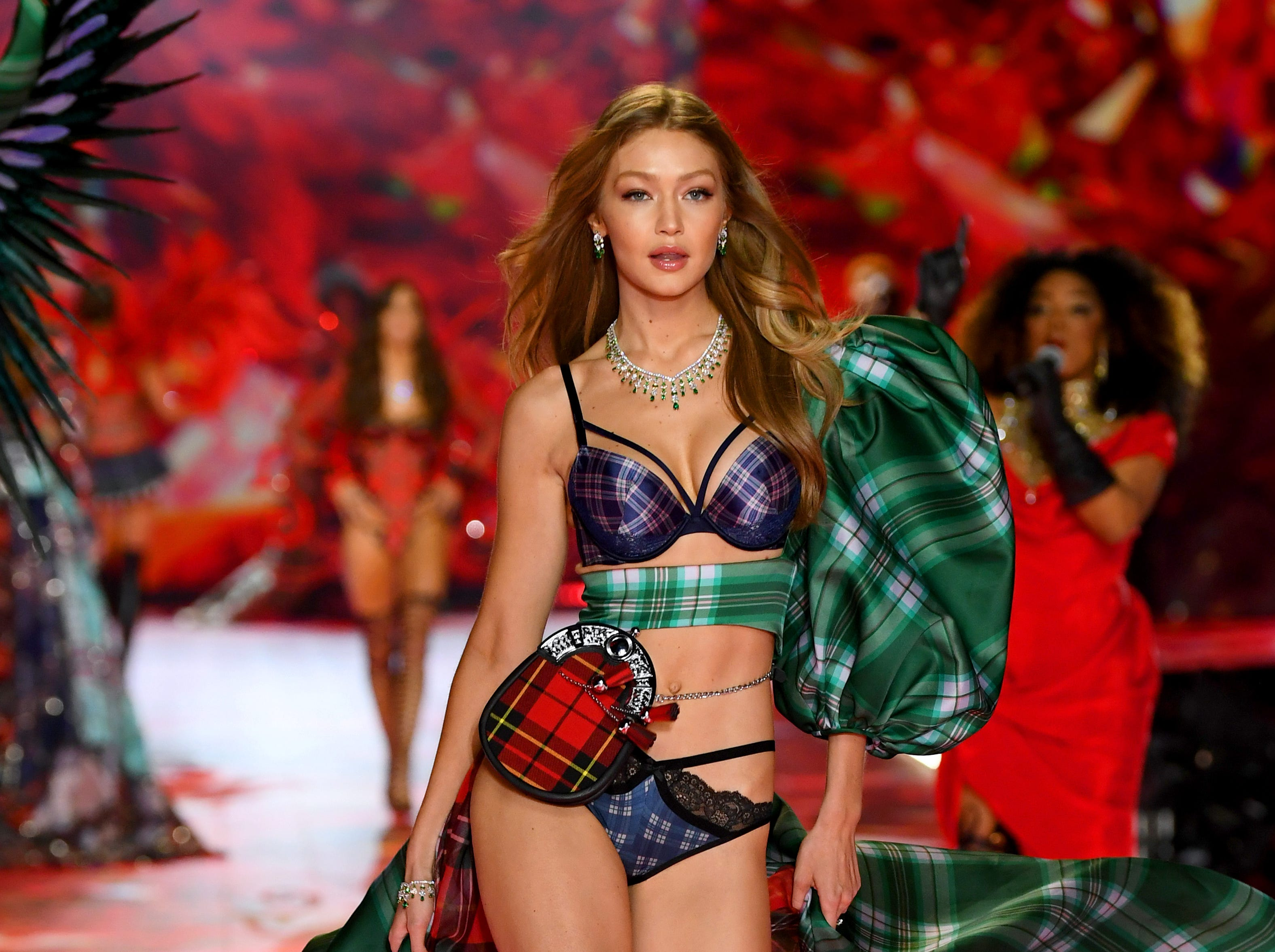 NEW YORK, NY - NOVEMBER 08:  Gigi Hadid walks the runway during the 2018 Victoria's Secret Fashion Show at Pier 94 on November 8, 2018 in New York City.  (Photo by Dimitrios Kambouris/Getty Images for Victoria's Secret) ORG XMIT: 775252749 ORIG FILE ID: 1059371098