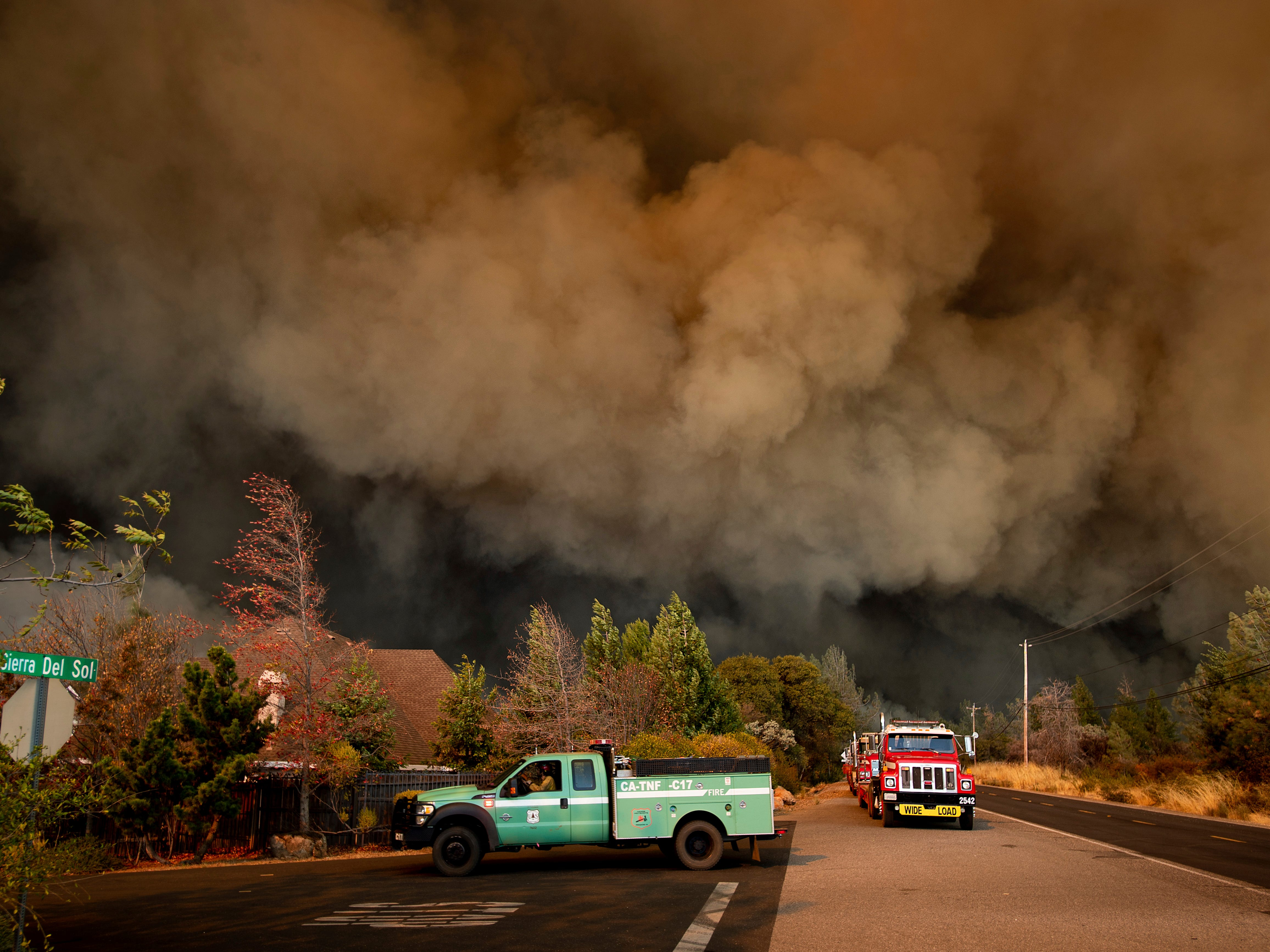 The Camp Fire rages through Paradise, Calif., on Nov. 8, 2018.