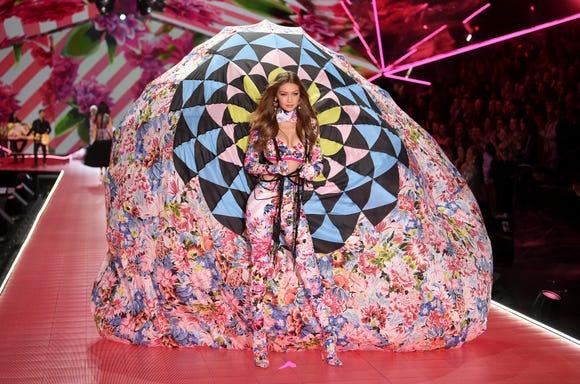 Gigi Hadid walks the runway during the 2018 Victoria's Secret Fashion Show at Pier 94.