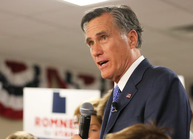 Republican U.S Senate candidate Mitt Romney in Orem, Utah. November 2018.