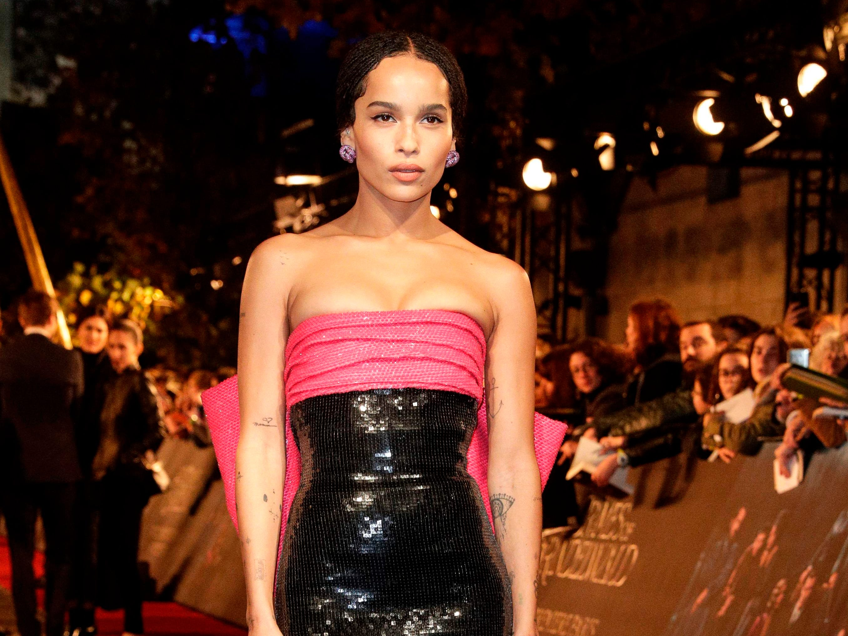 US actress and singer Zoe Kravitz, the daughter of musician Lenny Kravitz, poses for photographers as she arrives for the premier of the fantasy film 'Fantastic Beasts: The Crimes of Grindelwald' in Paris on November 8, 2018. (Photo by Geoffroy VAN DER HASSELT / AFP)GEOFFROY VAN DER HASSELT/AFP/Getty Images ORIG FILE ID: AFP_1AO867