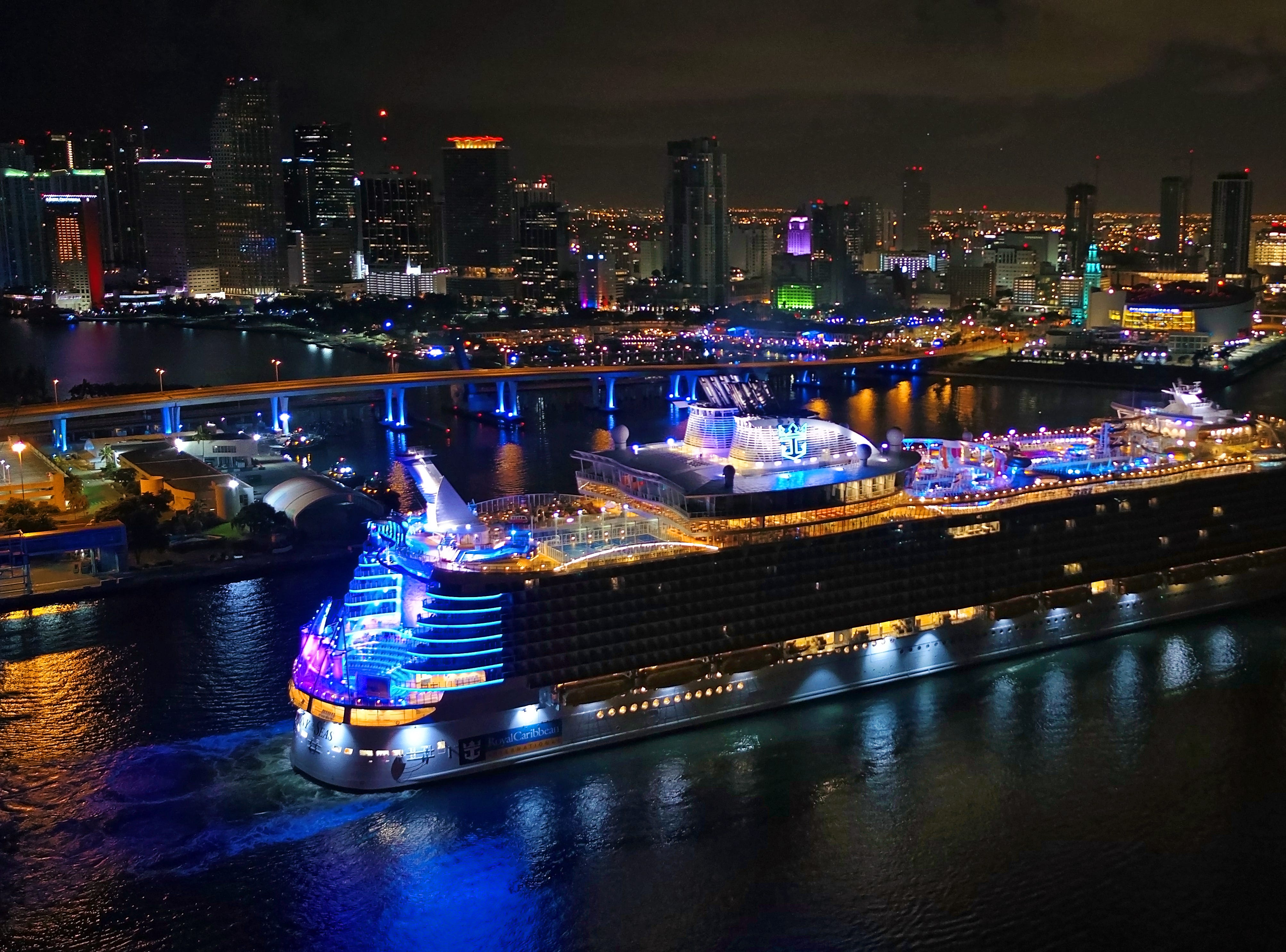 Unveiled earlier this year in Europe, Symphony of the Seas pulled into the Port of Miami on Friday before dawn after a 12-night voyage from Barcelona.