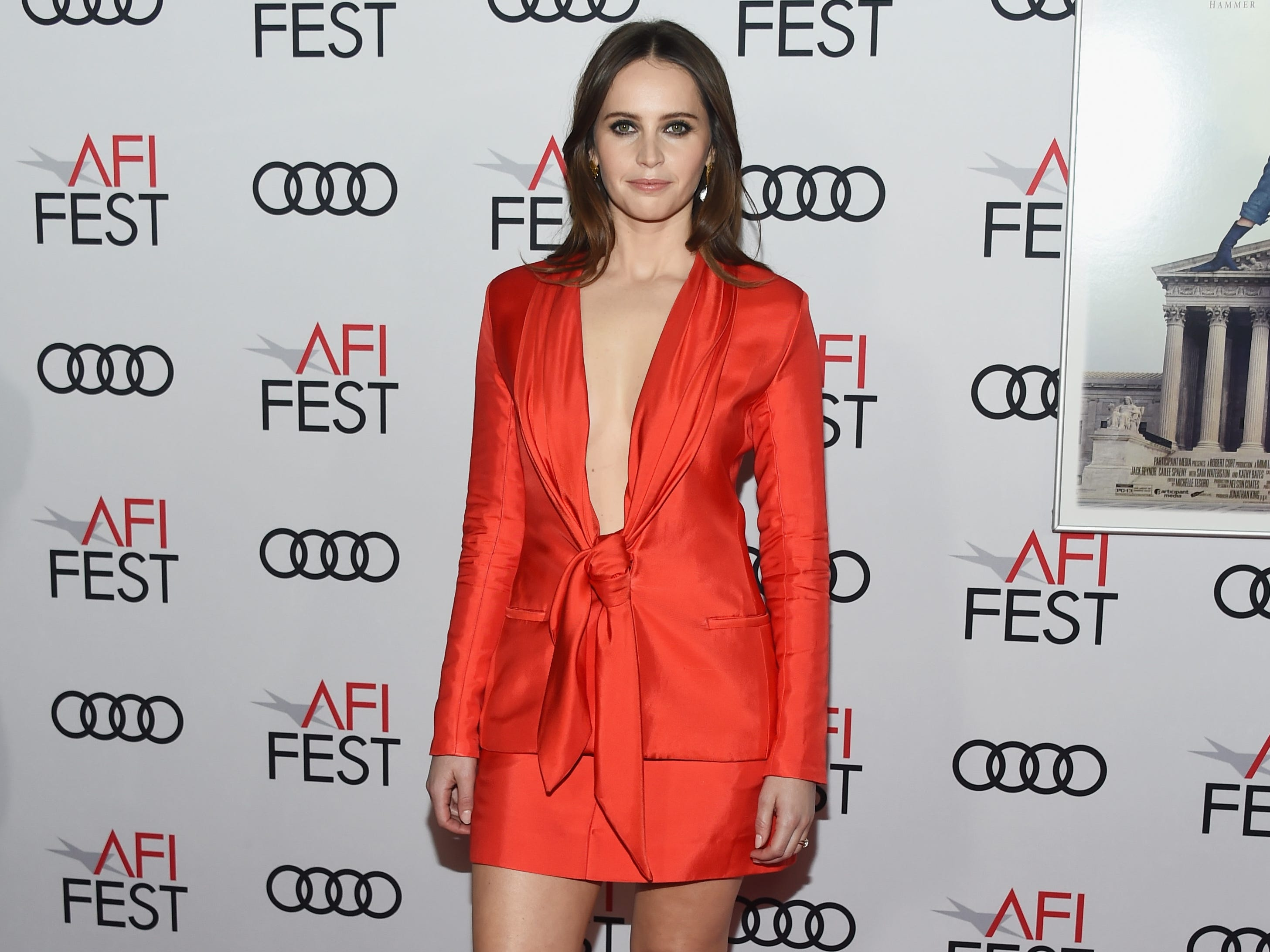 "HOLLYWOOD, CA - NOVEMBER 08:  Actress Felicity Jones arrives at the AFI FEST 2018 Presented By Audi Opening Night World Premiere Gala Screening of ""On The Basis Of Sex"" at the TCL Chinese Theatre on November 8, 2018 in Hollywood, California.  (Photo by Amanda Edwards/WireImage) ORG XMIT: 775251094 ORIG FILE ID: 1059466512"