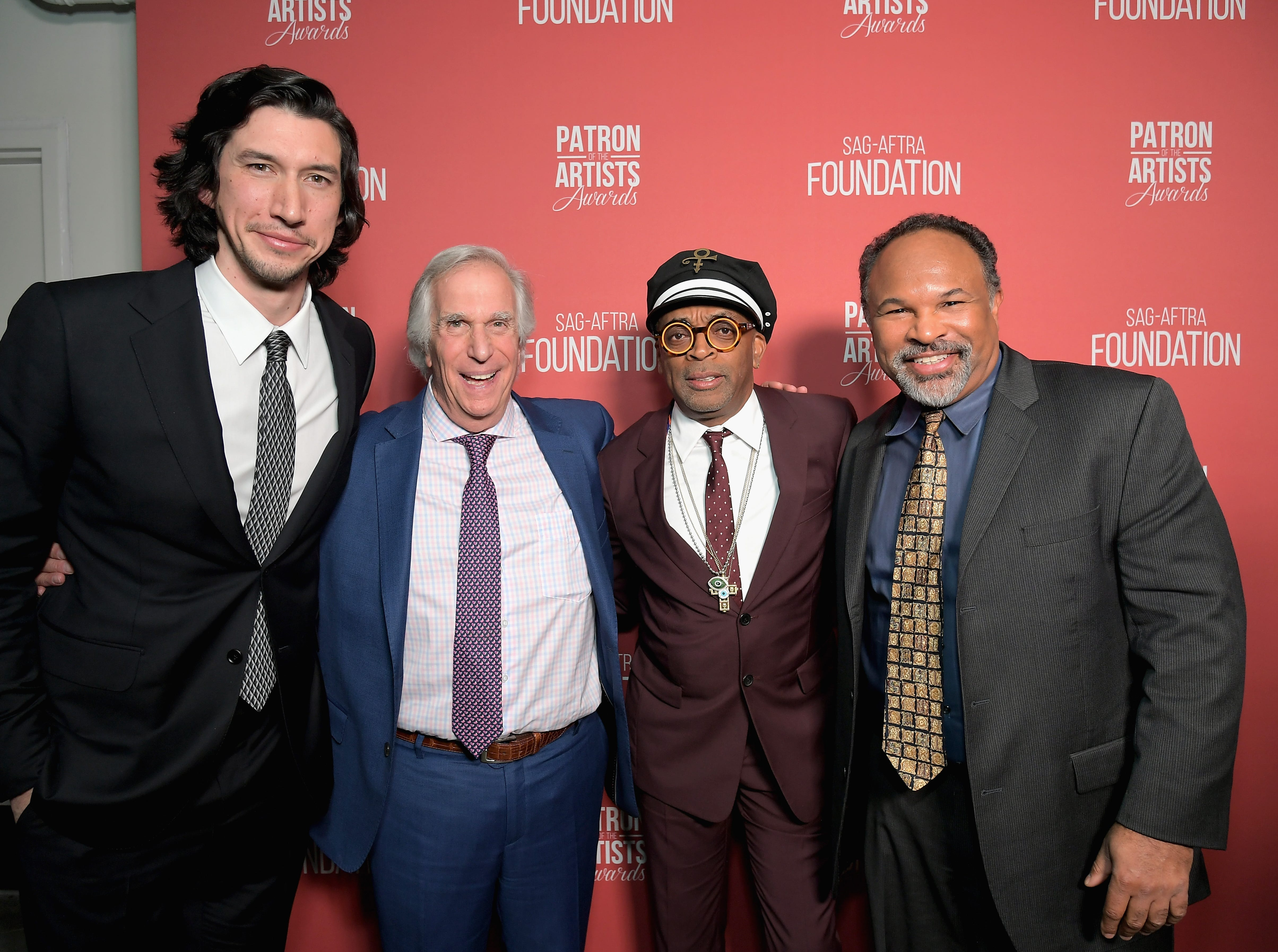 BEVERLY HILLS, CA - NOVEMBER 08:  (L-R) Adam Driver, Henry Winkler, Patron of the Artists Award recipient Spike Lee, and Geoffrey Owens attend the SAG-AFTRA Foundation's 3rd Annual Patron of the Artists Awards at the Wallis Annenberg Center for the Performing Arts on November 8, 2018 in Beverly Hills, California.  (Photo by Charley Gallay/Getty Images for SAG-AFTRA Foundation) ORG XMIT: 775247555 ORIG FILE ID: 1059475082