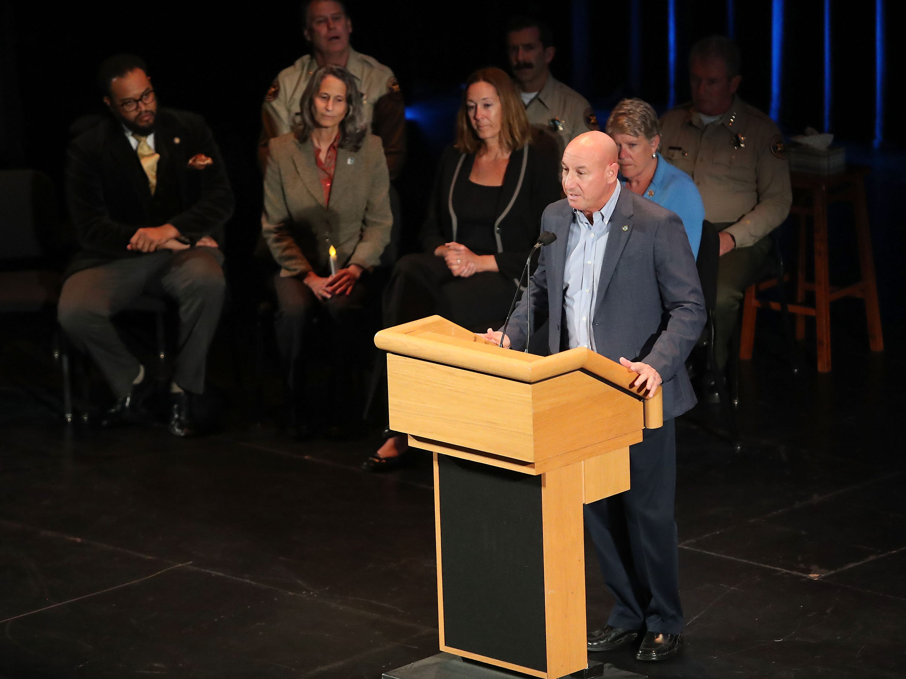 Mayor Andy Fox speaks at a vigil for the shooting victims at the Thousand Oaks Civic Arts Plaza on Nov. 8, 2018, in Thousand Oaks, Calif.