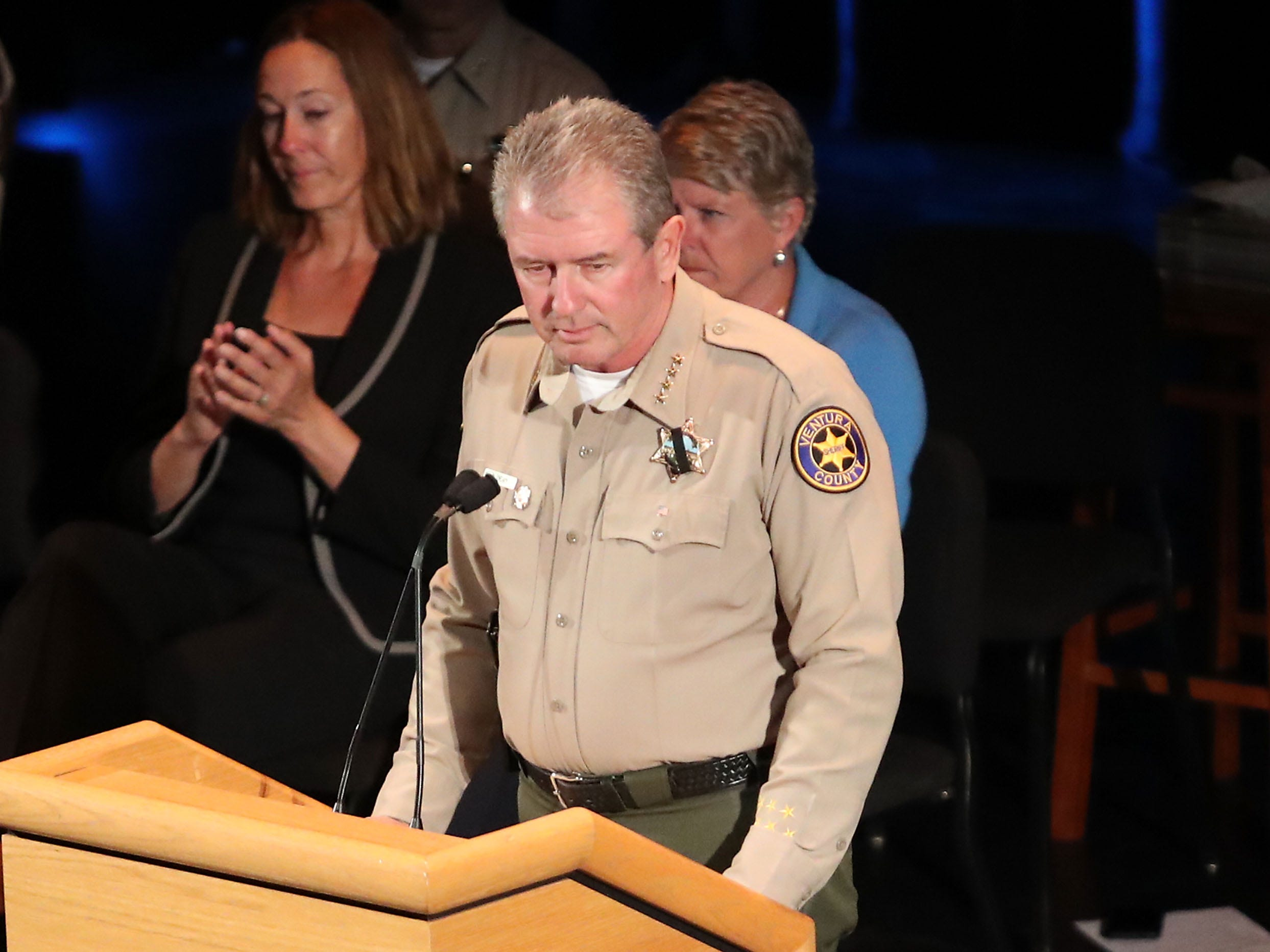 Ventura County Sheriff Geoff Dean speaks at a vigil for the shooting victims at the Thousand Oaks Civic Arts Plaza, Nov. 8, 2018, in Thousand Oaks, Calif.