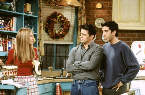 Jennifer Aniston as Rachel Green, Matt LeBlanc as Joey Tribbiani and David Schwimmer as Ross Geller.