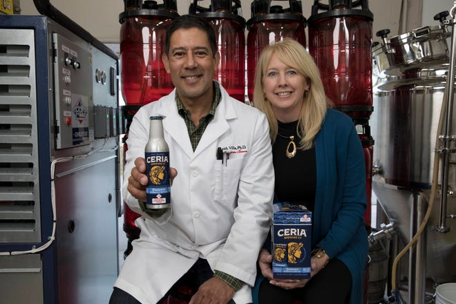 Keith Villa, at left, and Jodi Villa, are launching CERIA Grainwave Belgian-Style White Ale, a nonalcoholic beer infused with THC.