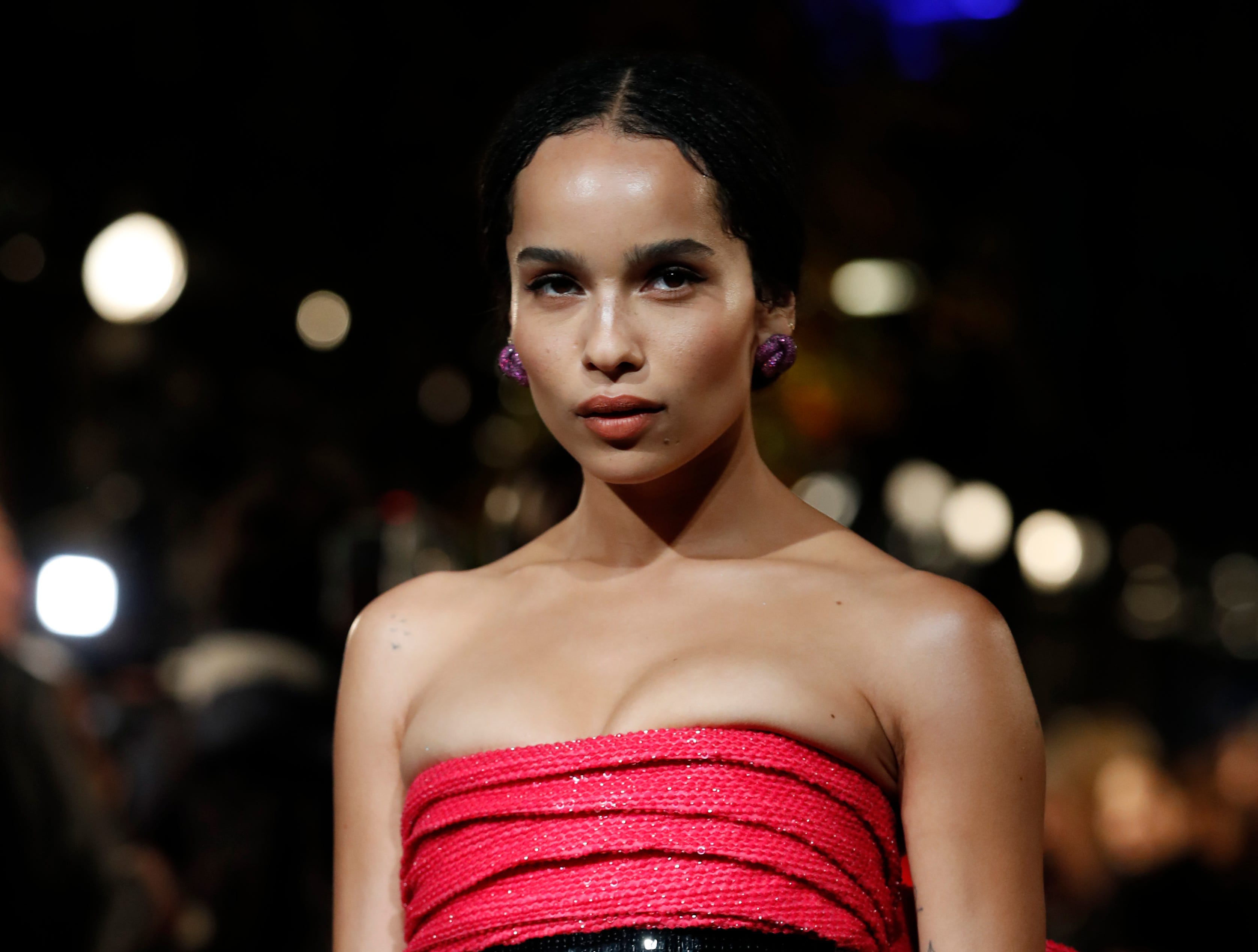 "Actress Zoe Kravitz poses at the world premiere of the film ""Fantastic Beasts: The Crimes of Grindelwald"" in Paris, Thursday, Nov. 8, 2018. (AP Photo/Christophe Ena) ORG XMIT: ENA116"