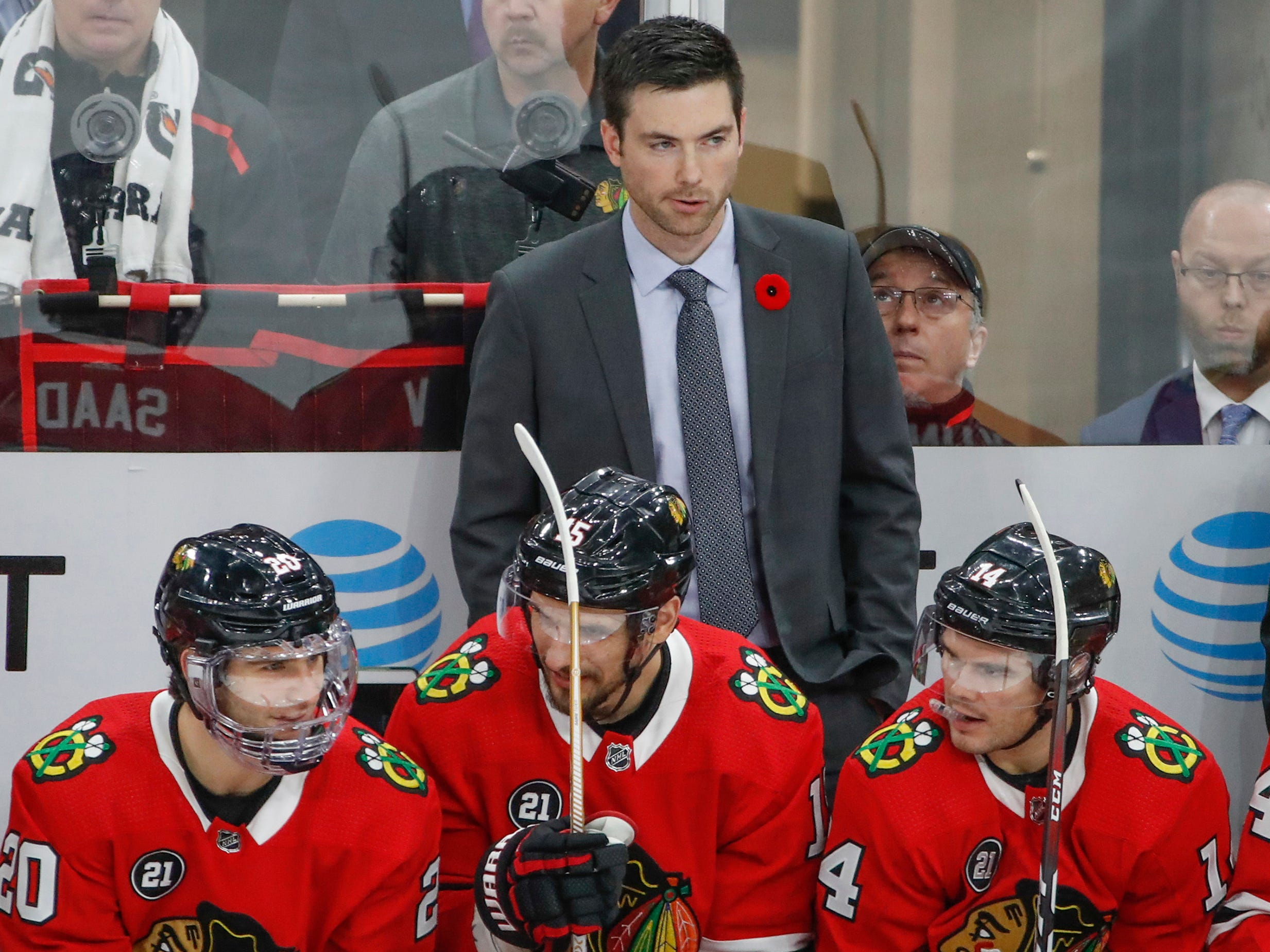 Nov. 8: Chicago Blackhawks head coach Jeremy Colliton makes his debut against the Carolina Hurricanes. His team fell behind 4-0 and lost 4-3.