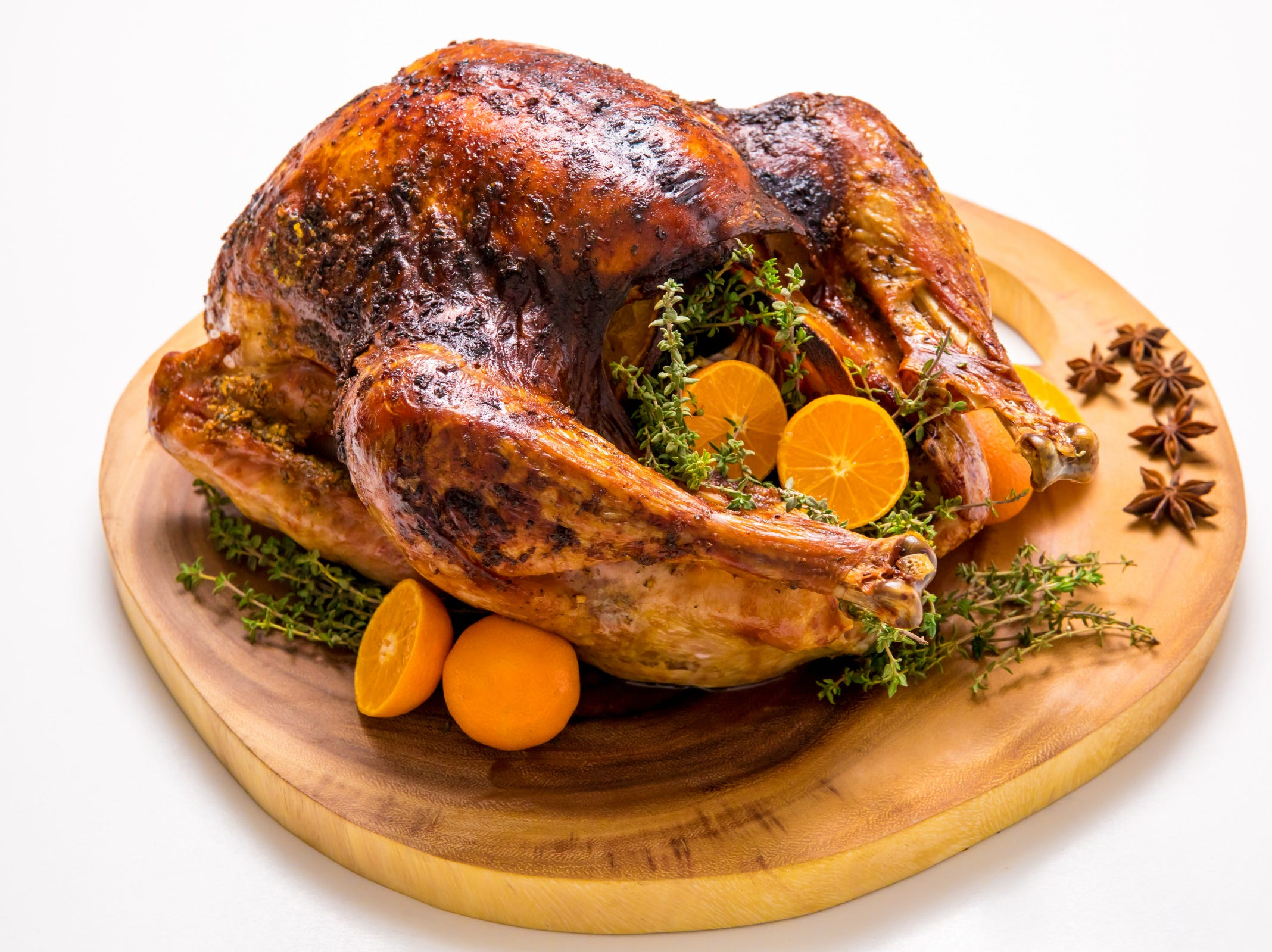 This orange, anise and thyme roasted turkey, inspired by Savory Experiments, boasts big citrus flavor and the complementary meat-loving tastes offered by star anise, fresh thyme, and garlic.