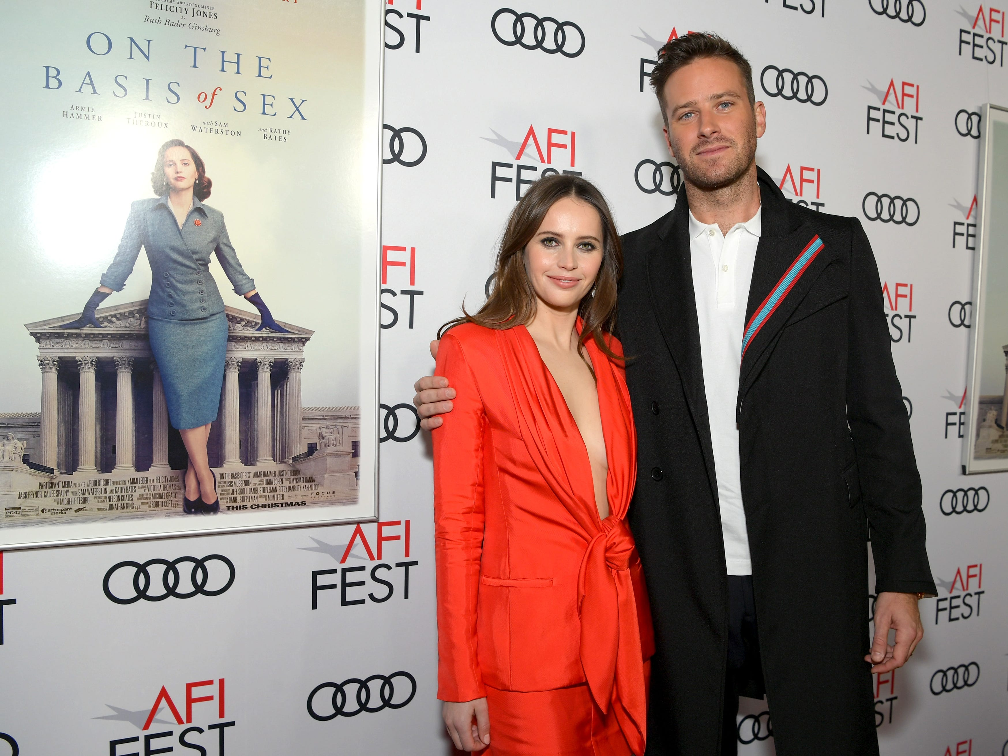 "HOLLYWOOD, CA - NOVEMBER 08:  Felicity Jones (L) and Armie Hammer attend the Opening Night World Premiere Gala Screening of ""On The Basis Of Sex"" at AFI FEST 2018 Presented By Audi at TCL Chinese Theatre on November 8, 2018 in Hollywood, California.  (Photo by Emma McIntyre/Getty Images for AFI) ORG XMIT: 775252123 ORIG FILE ID: 1059403922"