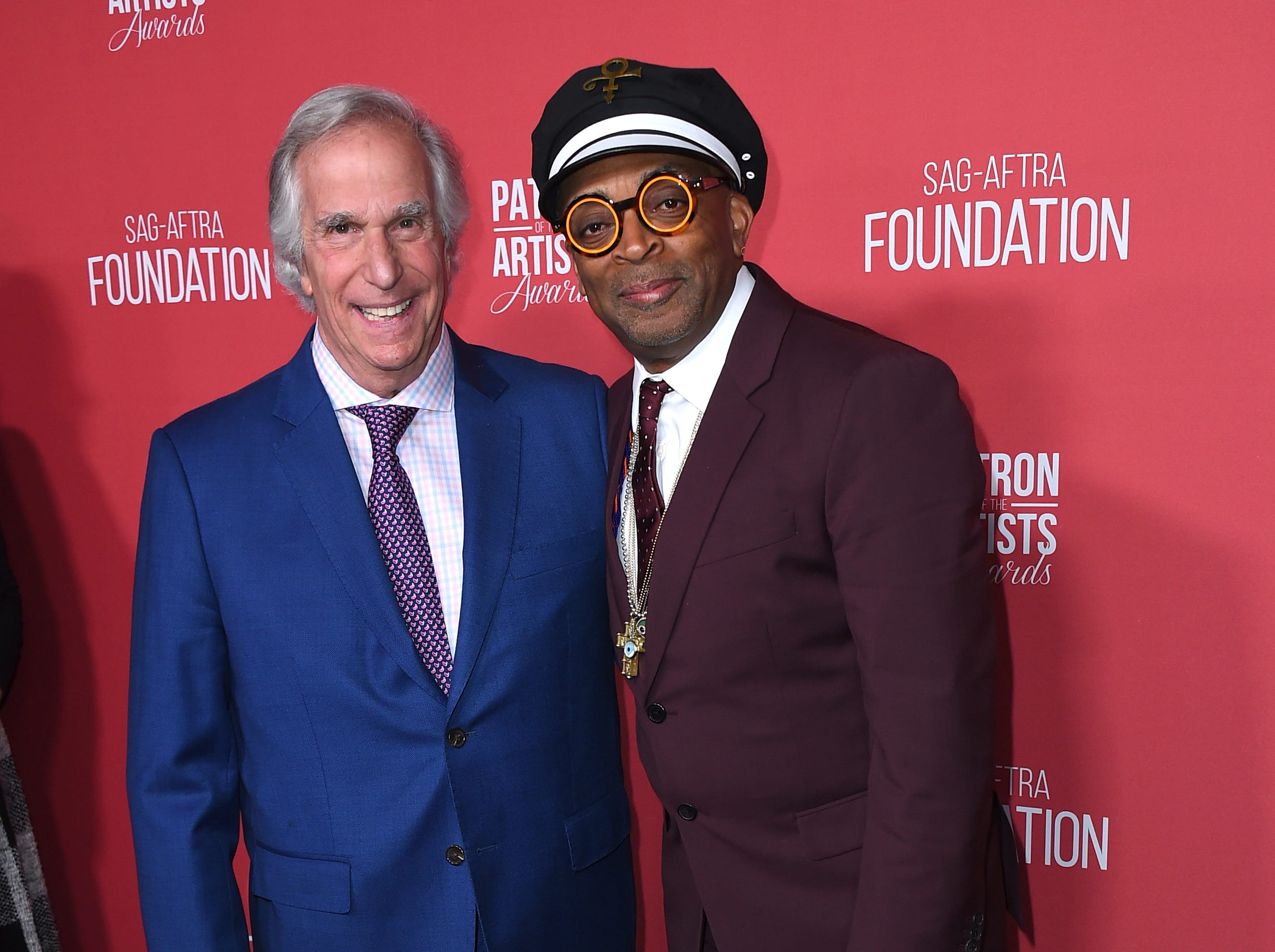 Henry Winkler, left, and Spike Lee arrive at the Patron of the Artists Awards on Thursday, Nov. 8, 2018, at the Wallis Annenberg Center for the Performing Arts in Beverly Hills, Calif. (Photo by Jordan Strauss/Invision/AP) ORG XMIT: CAPM158