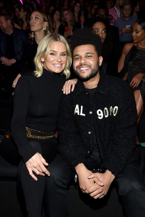 Yolanda Hadid and The Weeknd attend the 2018 Victoria's Secret Fashion Show in New York at Pier 94 on November 8, 2018 in New York City.