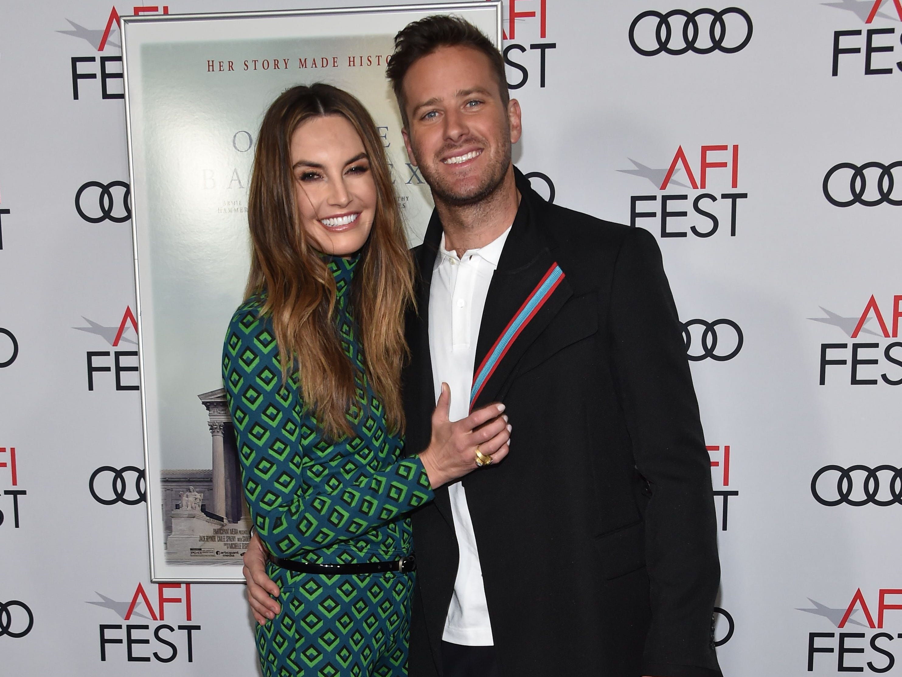 "Actor Armie Hammer and his wife actress Elizabeth Chambers arrive for the AFI Opening Night World Premiere Gala Screening of ""On the Basis of Sex"" at the TCL Chinese theatre in Hollywood on November 8, 2018. (Photo by Chris Delmas / AFP)CHRIS DELMAS/AFP/Getty Images ORG XMIT: Red carpe ORIG FILE ID: AFP_1AP29J"