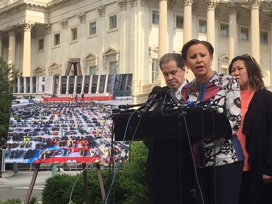 New York Rep. Nydia  Velazquez  joined other Democrats at a press conference June 6, 2018, outside the U.S. Capitol.