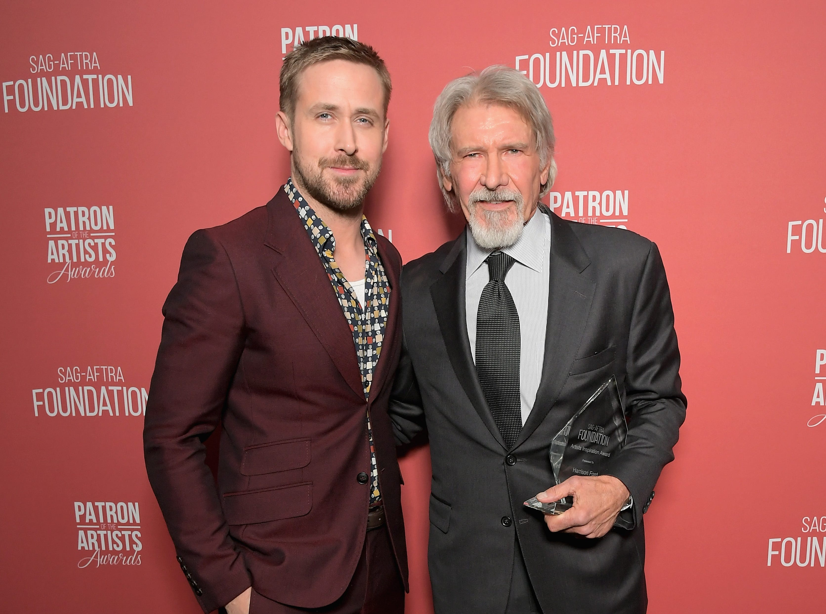 BEVERLY HILLS, CA - NOVEMBER 08:  Ryan Gosling (L) and Artists Inspiration Award recipient Harrison Ford attend the SAG-AFTRA Foundation's 3rd Annual Patron of the Artists Awards at the Wallis Annenberg Center for the Performing Arts on November 8, 2018 in Beverly Hills, California.  (Photo by Charley Gallay/Getty Images for SAG-AFTRA Foundation) ORG XMIT: 775247555 ORIG FILE ID: 1059475042