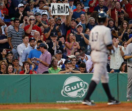 A Red Sox shows his feelings toward Alex Rodriguez during a game in 2013.
