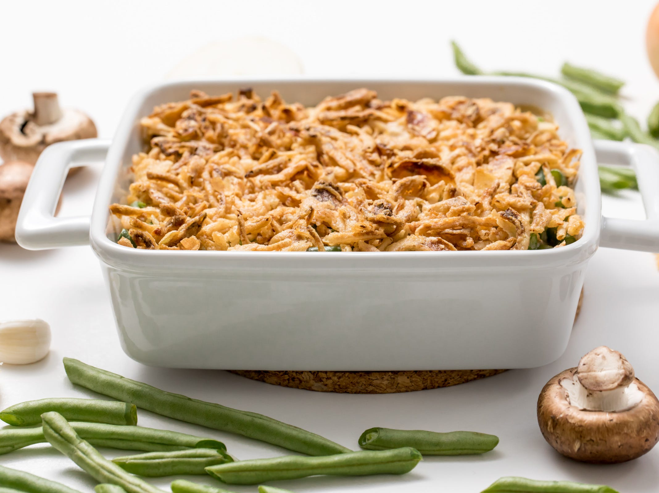 Shake up your Thanksgiving green bean casserole tradition by putting our creamiest green bean casserole ever, inspired by Budget Bytes, on your table! Featuring a homemade mushroom sauce, our contemporary take on this classic comfort food dish will have your holiday guests lining up for seconds — and then asking for the recipe.