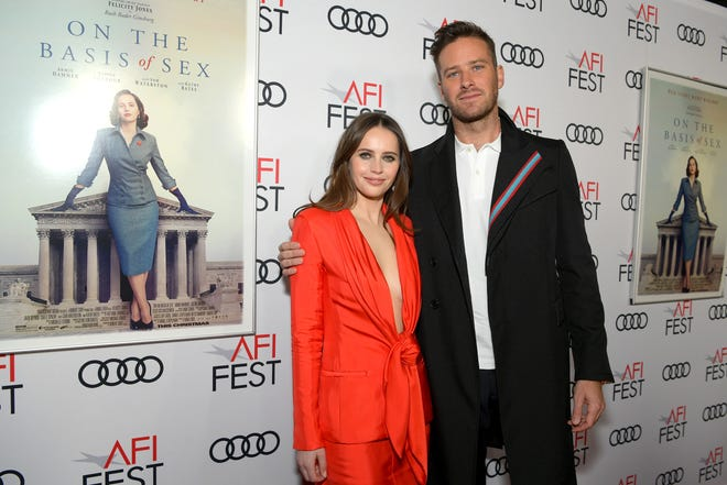 """Felicity Jones and Armie Hammer attend the opening night gala screening of """"On The Basis Of Sex"""" at AFI Fest in Los Angeles."""