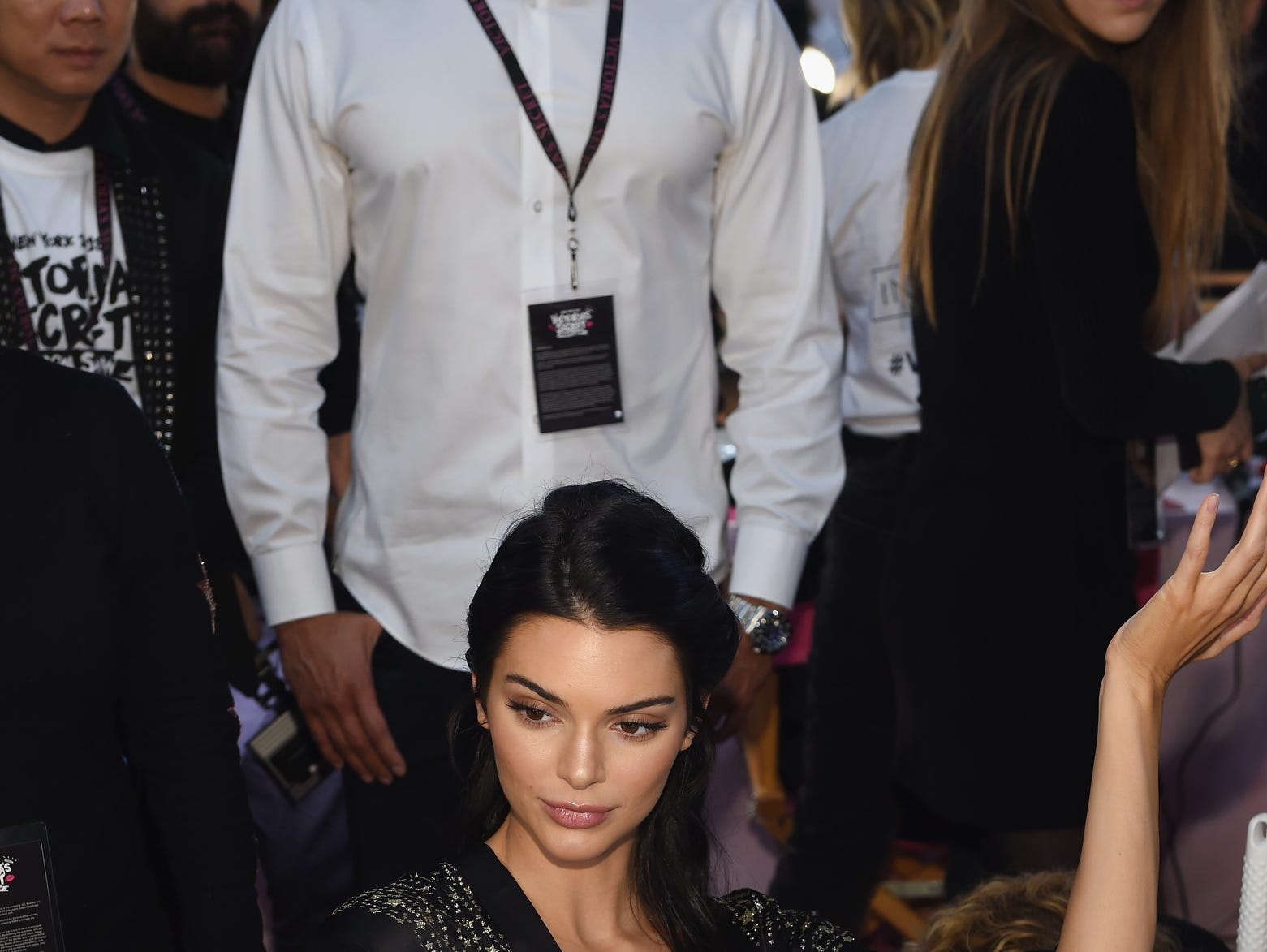 Kendall Jenner prepares backstage during the  Victoria's Secret Fashion Show.