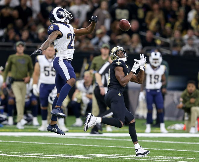 New Orleans Saints wide receiver Michael Thomas hauls in a touchdown catch that went over the head of Los Angeles Rams cornerback Marcus Peters in the fourth quarter at the Mercedes-Benz Superdome. Saints won, 45-35.