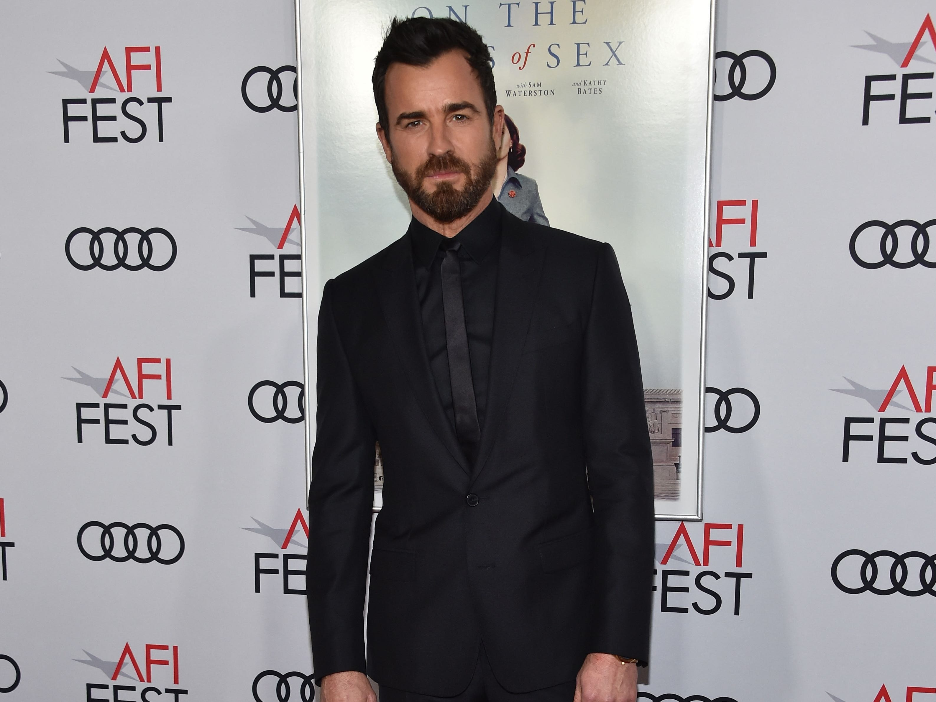 "Actor Justin Theroux arrives for the AFI Opening Night World Premiere Gala Screening of ""On the Basis of Sex"" at the TCL Chinese theatre in Hollywood on November 8, 2018. (Photo by Chris Delmas / AFP)CHRIS DELMAS/AFP/Getty Images ORG XMIT: Red carpe ORIG FILE ID: AFP_1AP1WK"