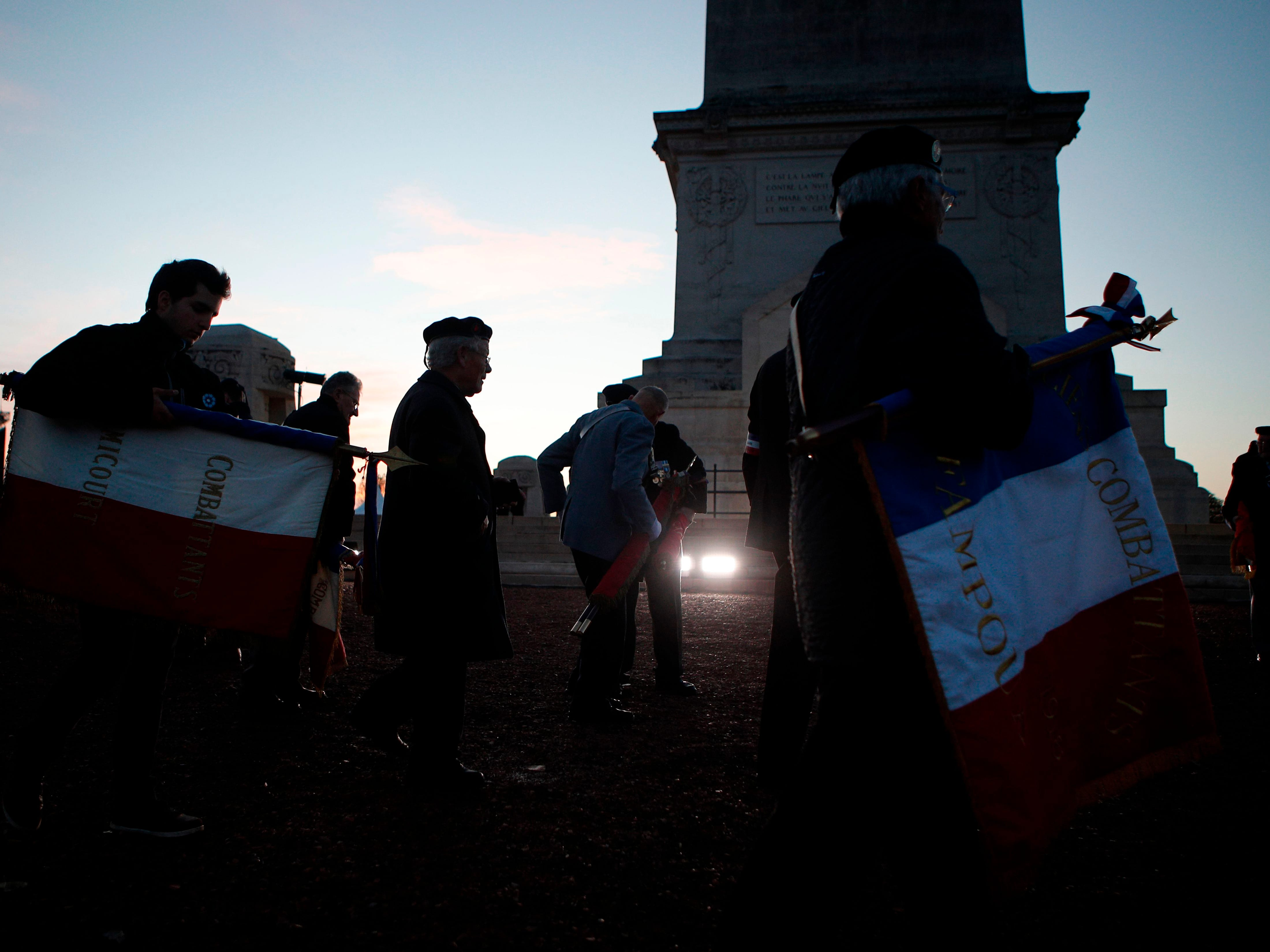War veterans attend a remembrance ceremony at the Notre Dame de Lorette war cemetery near Arras, northern France, on November 8, 2018 as part of ceremonies marking the 100th anniversary of the end of WWI. (Photo by Francois Mori / POOL / AFP)FRANCOIS MORI/AFP/Getty Images ORIG FILE ID: AFP_1AO67H
