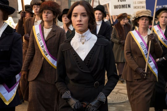 Abigail Spencer, center, who plays Lucy Preston on NBC's 'Timeless,' says an episode that featured suffragettes is one of her favorites.