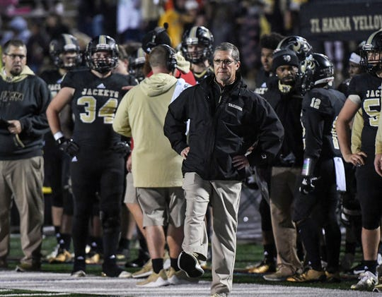 TL Hanna head coach Jeff Herron opts for an extra point during the second quarter at TL Hanna High School in Anderson on Friday, November 9, 2018.