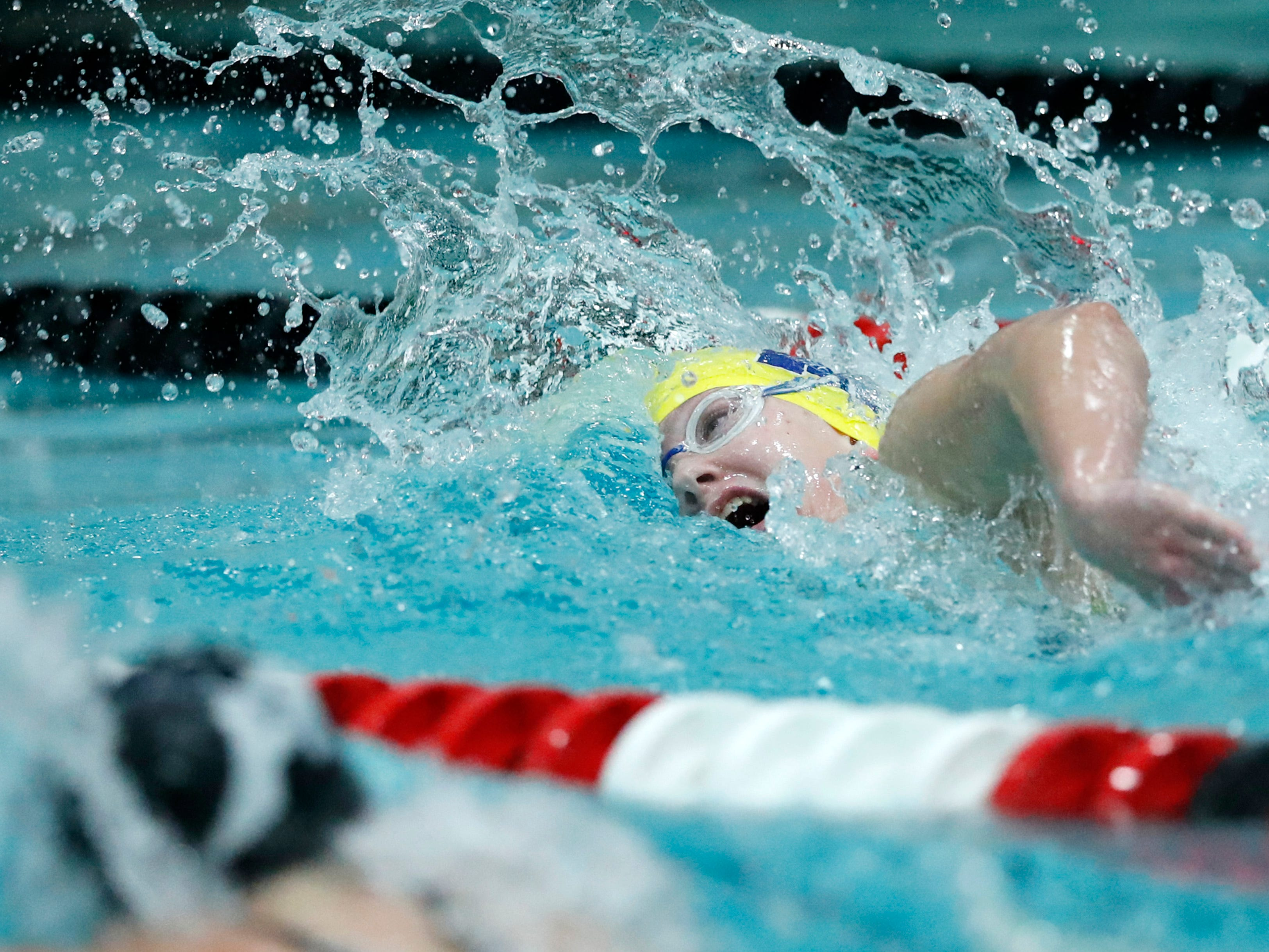 Tomahawk's Kylee Theiler races in the 200 yard freestyle during the WIAA Division 2 State Swimming and Diving meet Friday, Nov. 9, 2018, at the UW Natatorium in Madison, Wis.