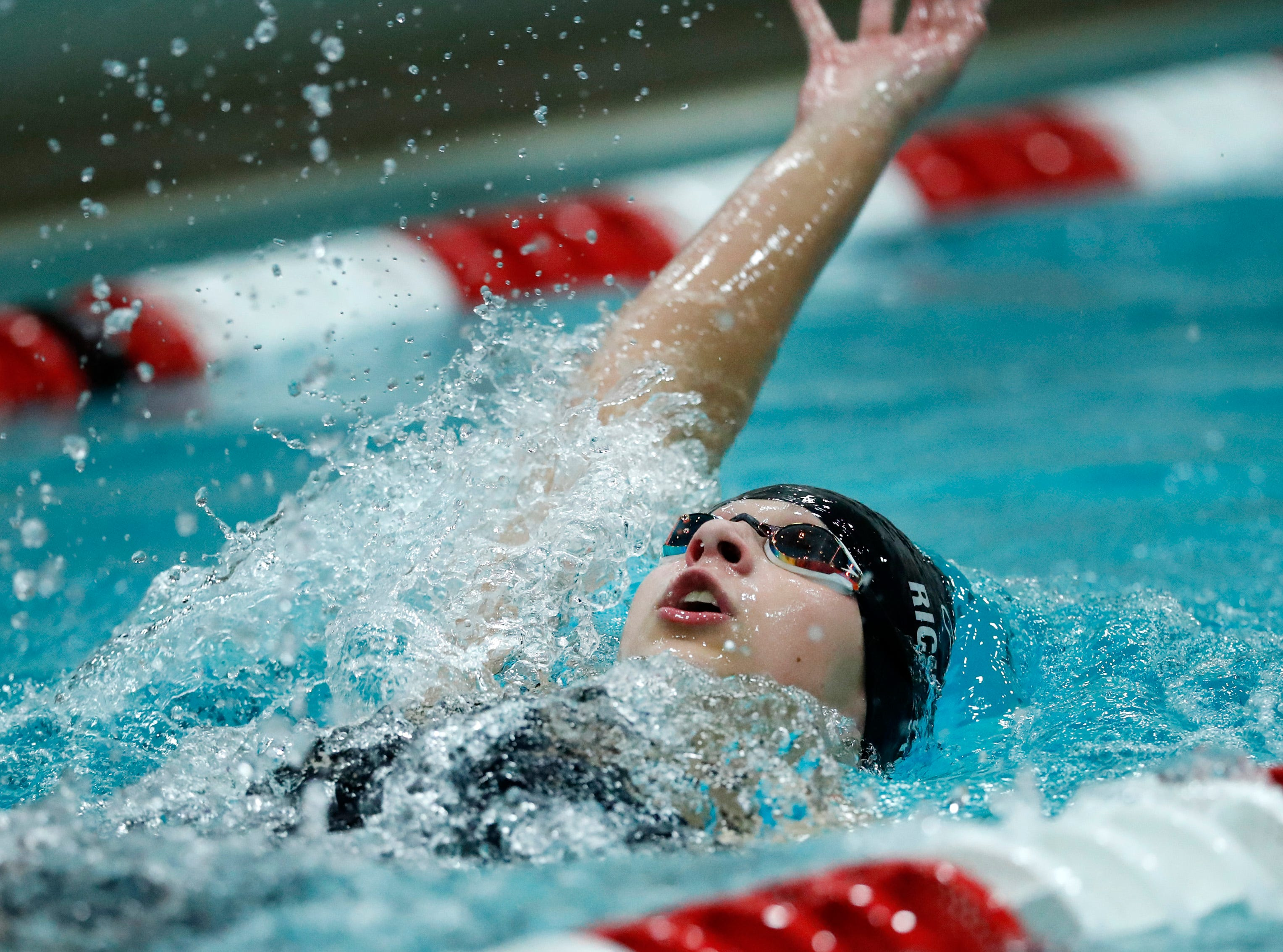 Wausau East's Olivia Richetto races in the 200 yard individual medley during the WIAA Division 2 State Swimming and Diving meet Friday, Nov. 9, 2018, at the UW Natatorium in Madison, Wis.