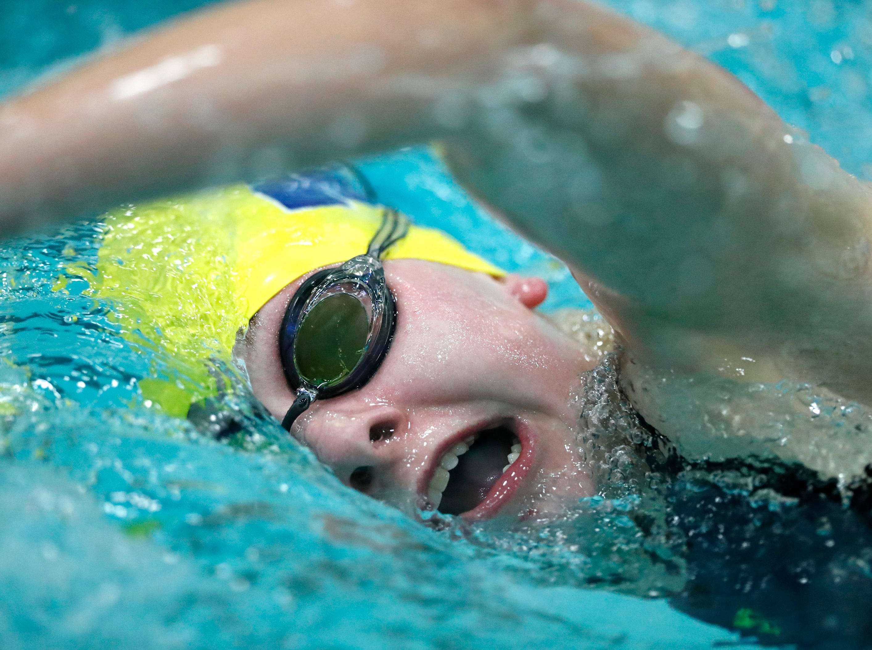 Tomahawk's Megan Marcks races in the 100 yard freestyle during the WIAA Division 2 State Swimming and Diving meet Friday, Nov. 9, 2018, at the UW Natatorium in Madison, Wis.Danny Damiani/USA TODAY NETWORK-Wisconsin