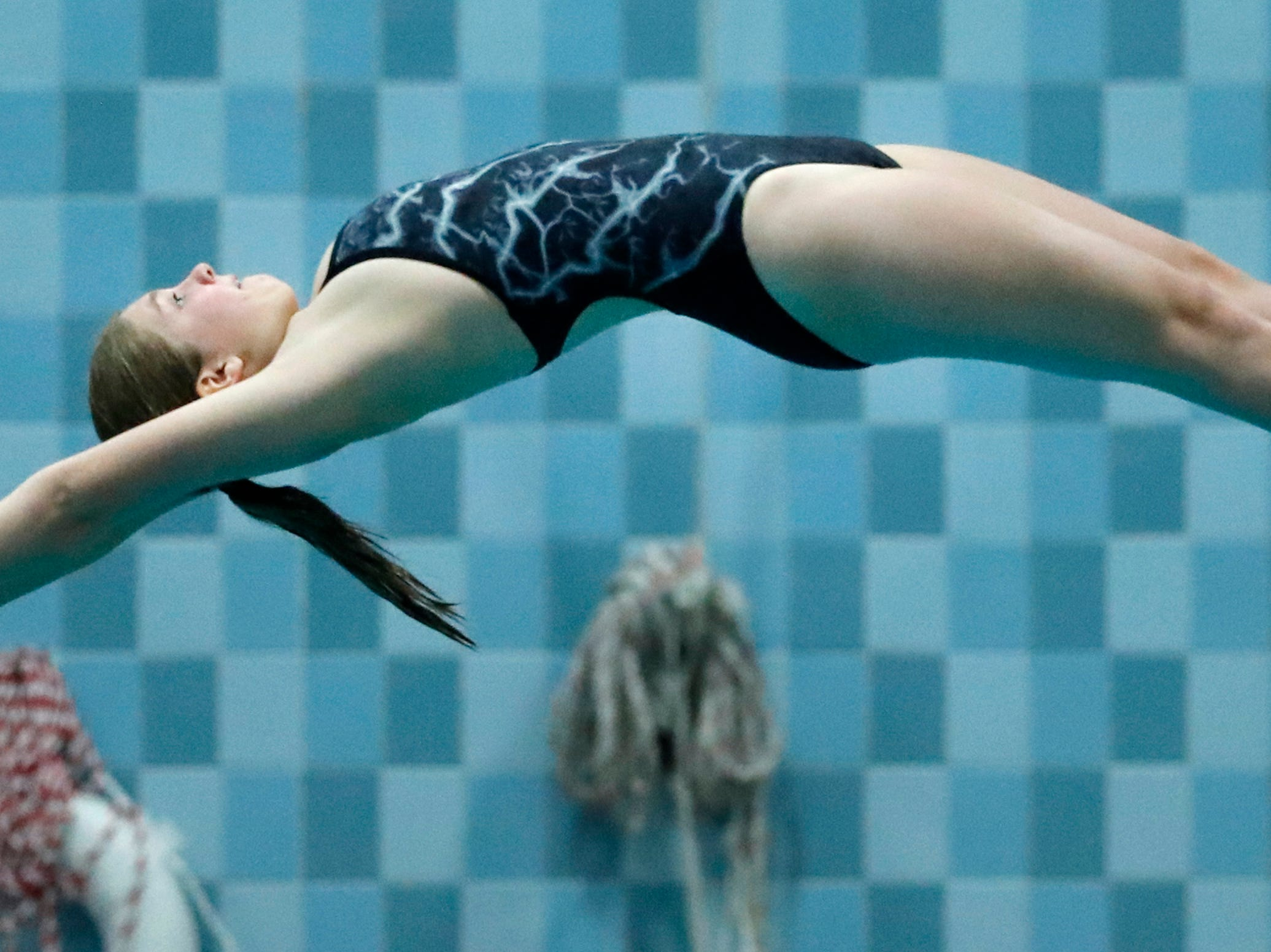 Plymouth's Isabella Josephs competes in the diving finals during WIAA Division 2 State Swimming and Diving Friday, Nov. 9, 2018, at the UW Natatorium in Madison, Wis.