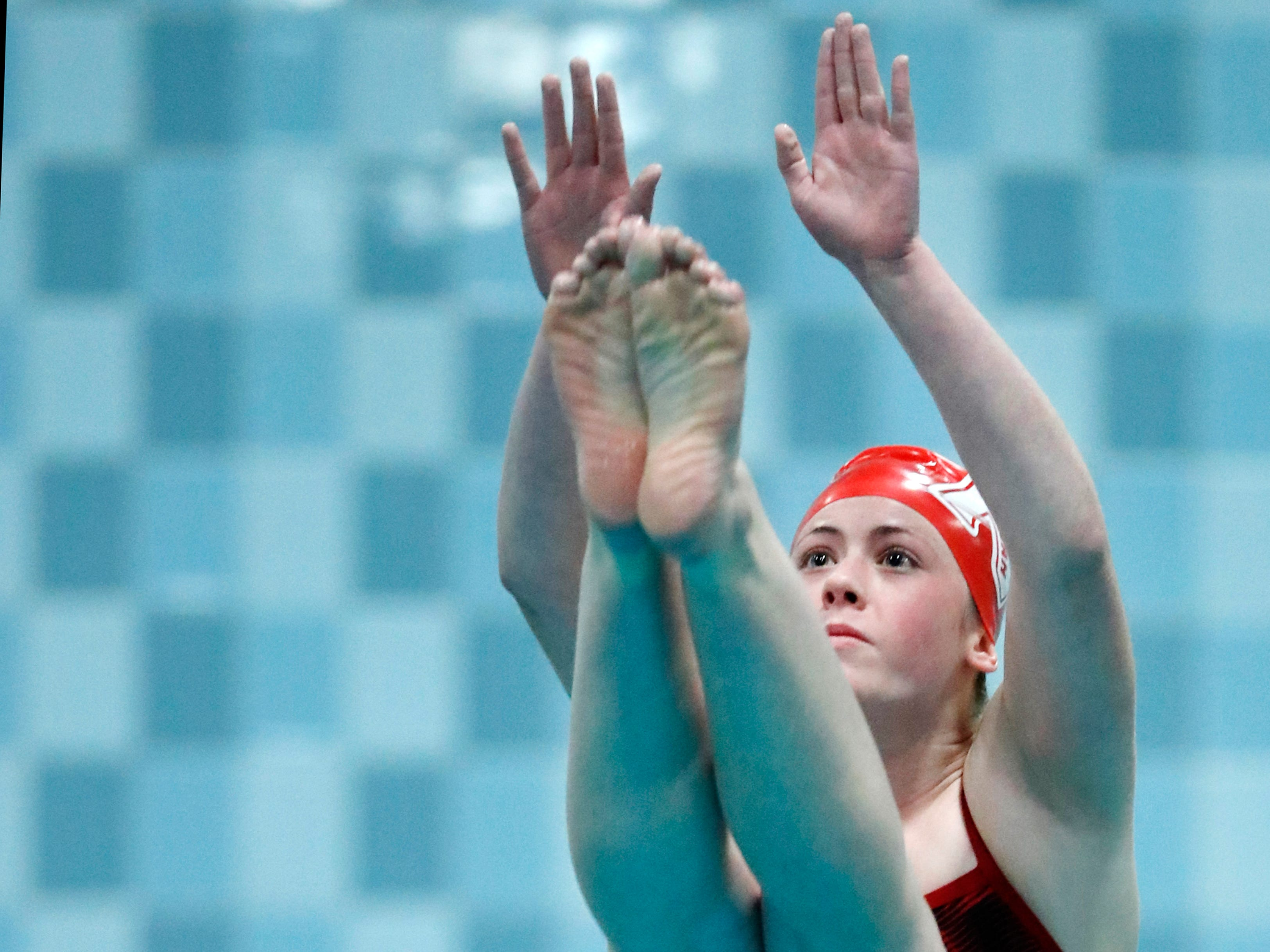 Neenah's Abbigale Priestley during the WIAA Division 1 State Swimming and Diving meet Saturday, Nov. 10, 2018, at the UW Natatorium in Madison, Wis.