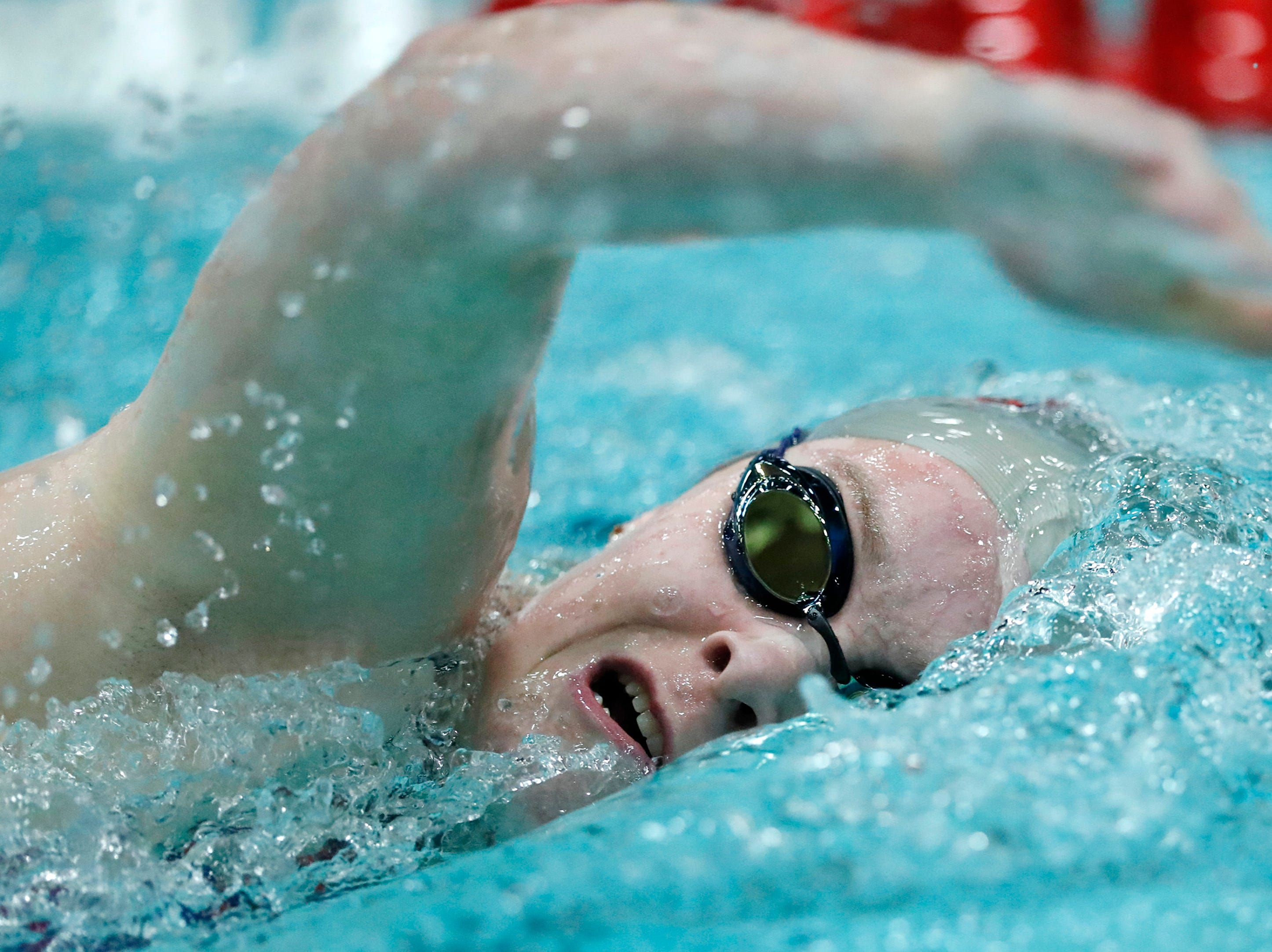 Medford's Erin Bergman races in the 200 yard freestyle during the WIAA Division 2 State Swimming and Diving meet Friday, Nov. 9, 2018, at the UW Natatorium in Madison, Wis.