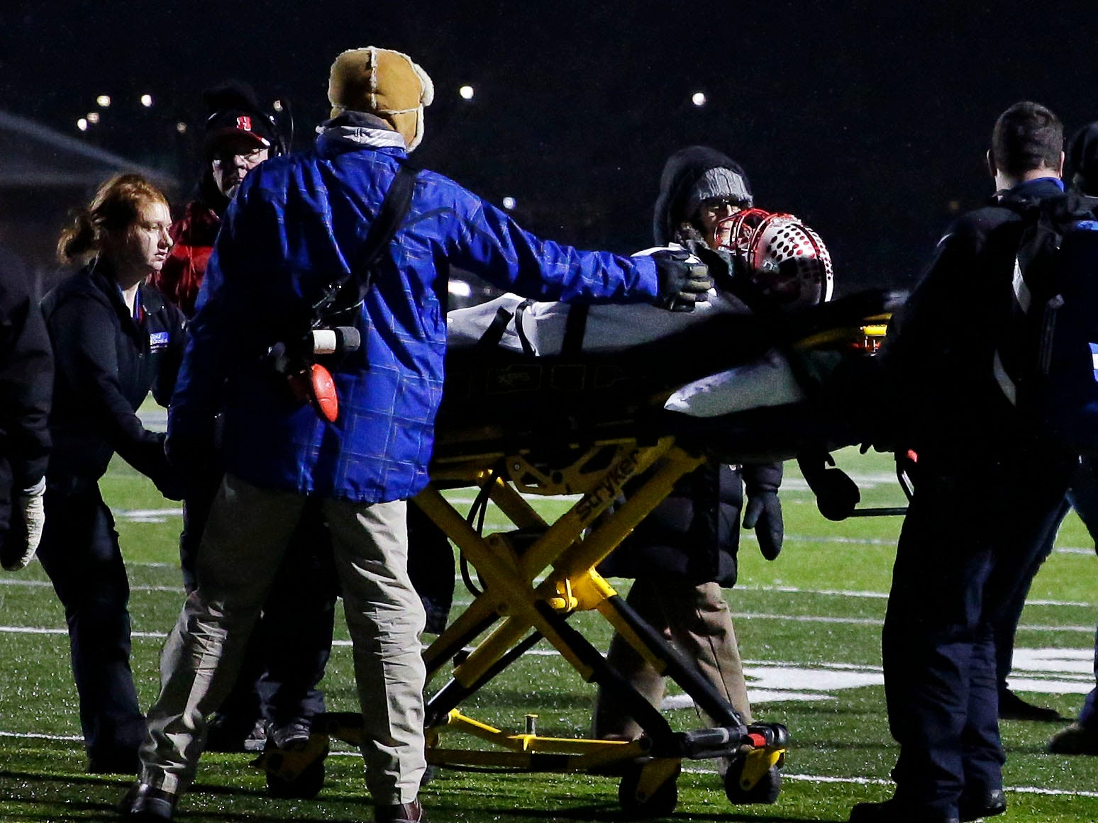 Jaiden Larrabee of Homestead is injured during a game against Marshfield in a WIAA Division 2 state semifinal football game Friday, November 9, 2018, at Calder Stadium in Menasha, Wis.Ron Page/USA TODAY NETWORK-Wisconsin