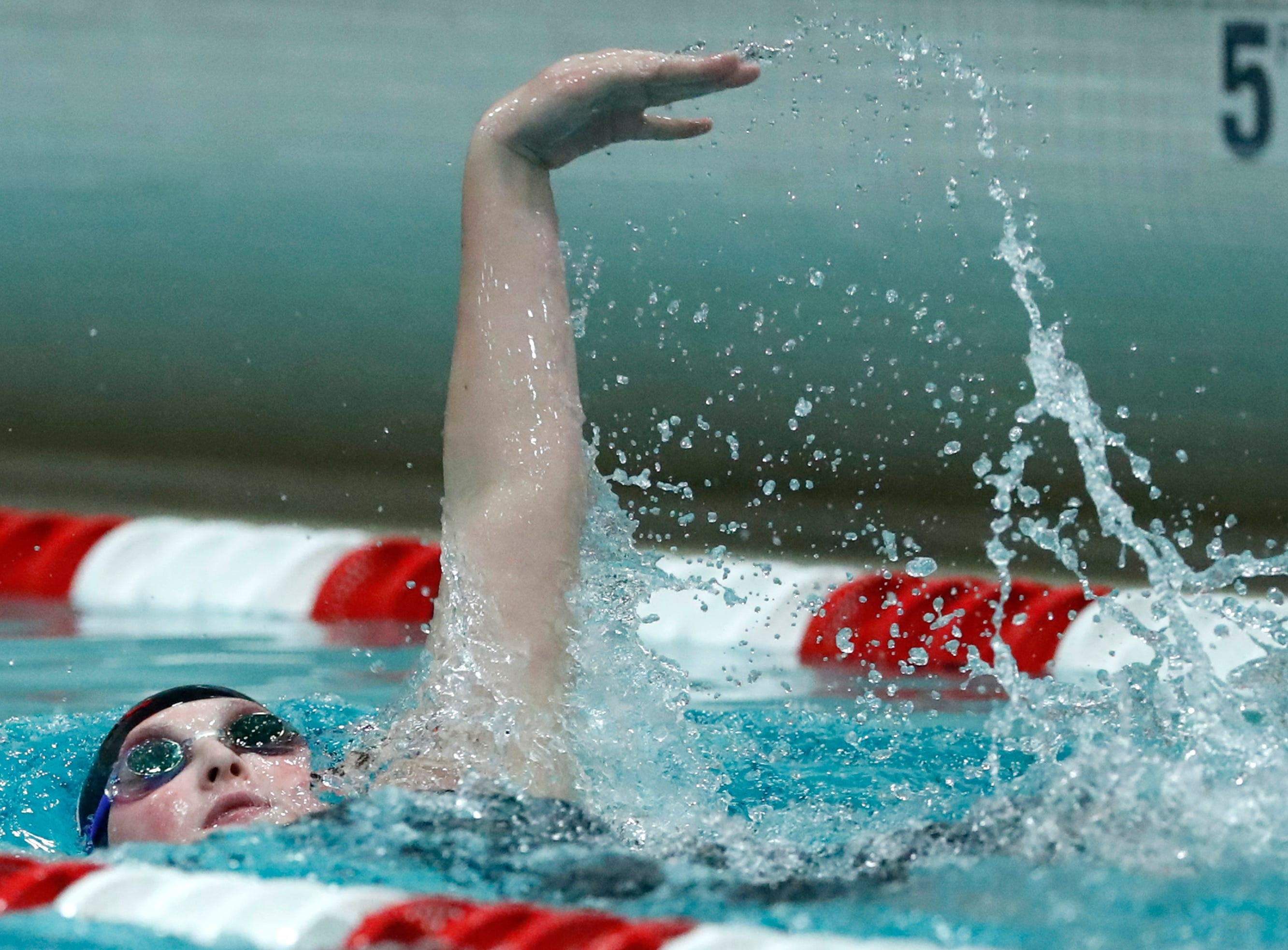 Sturgeon Bay Co-op's Abi Schauske races in the 200 yard individual medley during the WIAA Division 2 State Swimming and Diving meet Friday, Nov. 9, 2018, at the UW Natatorium in Madison, Wis.